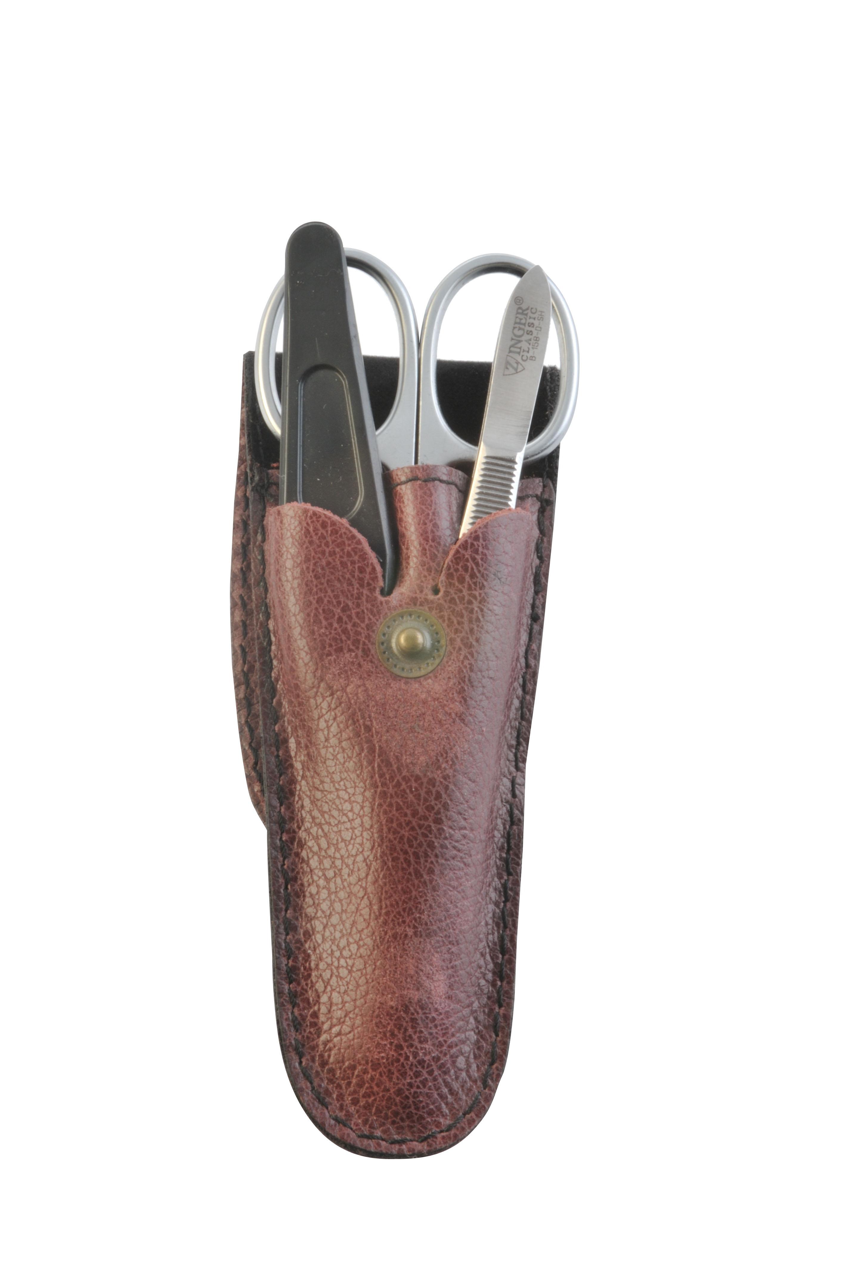 Zinger Маникюрный набор zMs Z-3 SM5685Ман. набор 3 предмета (ножницы кутикульные, пилка алмазная , пинцет). Чехол натуральная кожа. Цвет инструментов - матовое серебро. Оригинальня фирменная коробка