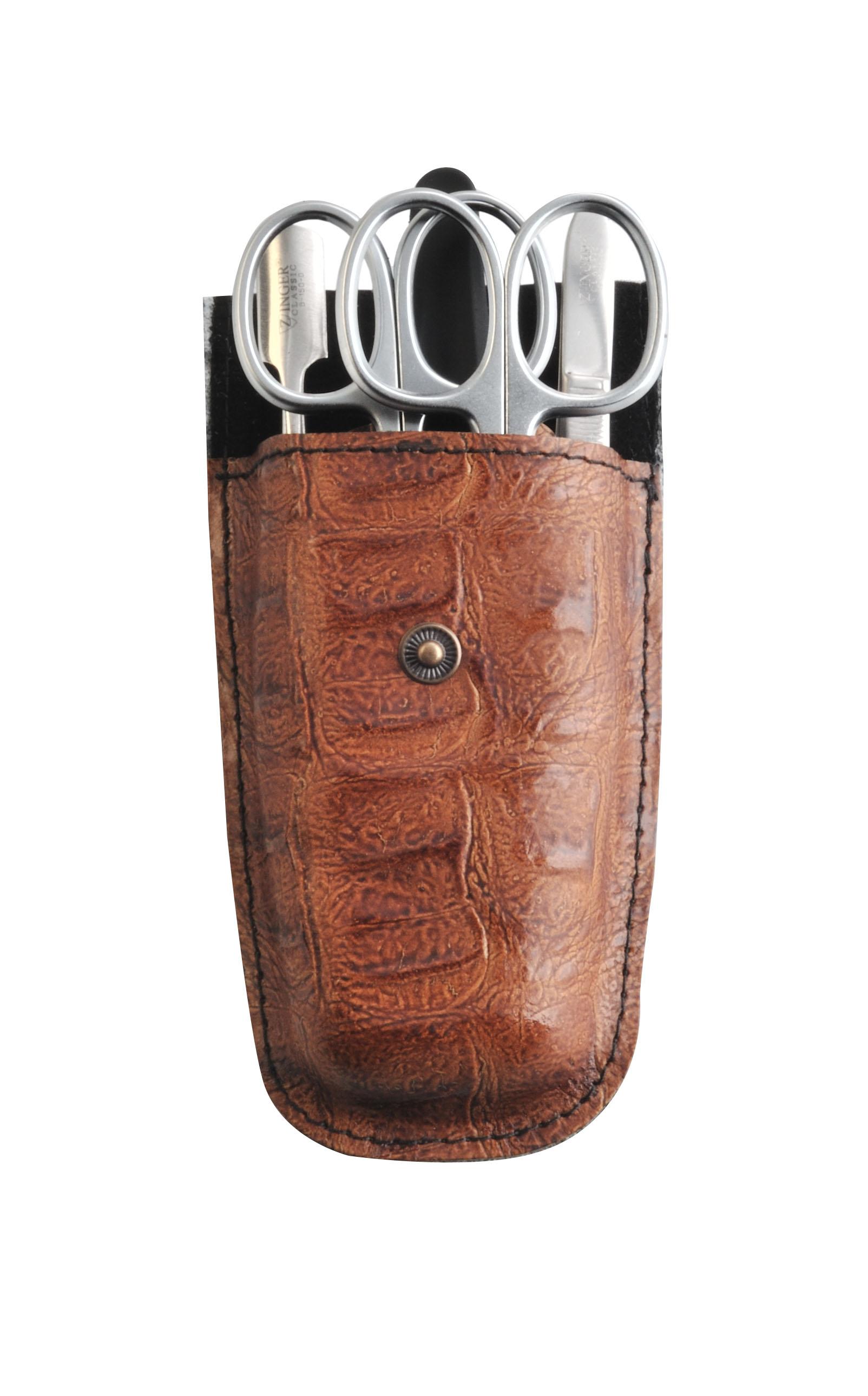Zinger Маникюрный набор zMs Z-5-SM-SF13069Ман. набор 5 предметов (ножницы кутикульные, ножницы ногтевые, пилка алмазная, металлический двусторонний шабер , пинцет). Чехол натуральная кожа. Цвет инструментов - матовое серебро. Оригинальня фирменная коробка