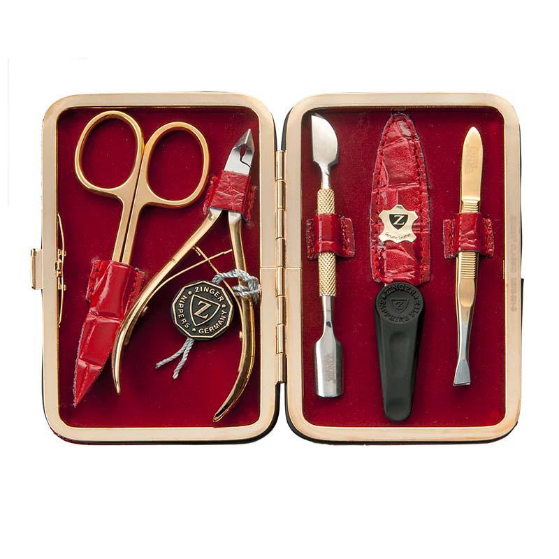 Zinger Маникюрный набор zMSF 301-GVT-1799(VT)Ман. набор 5 предметов (ножницы кутикульные, кусачки маникюрные, пилка алмазная, металлический двусторонний шабер 1, пинцет). Чехол натуральная кожа. Цвет инструментов - глянцевая позолота. Оригинальня фирменная коробка +подарок