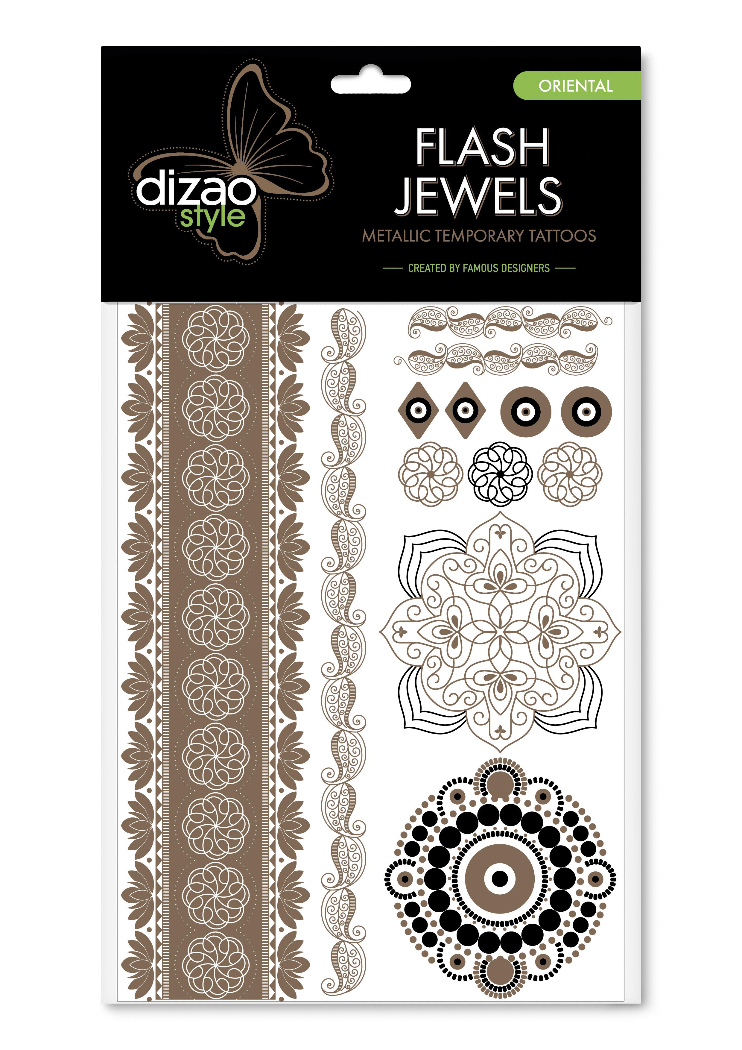 Dizao Временные золотые тату Flash Jewels: Восток5292452002526Оригинальные золотистые временные татуировки Dizao Flash Jewels: Восток позволят вам добавить изысканный штрих к вашему образу. В набор входит множество разнообразных дизайнов, которые вы сможете сочетать по своему вкусу. Откройте для себя мир идеальных линий и оригинальных дизайнов, которые заблистают на вашей коже благородным блеском золота и серебра. Позвольте украшениям стать органичной частью вашего тела. Следуйте самым последним тенденциям и всегда оставайтесь на пике моды. Подарите себе роскошь и непревзойденный стиль с тату Dizao. Премиальные золотые временные тату Flash Jewels: - имеют уникальные дизайны -держатся на коже продолжительное время, не теряя привлекательности -легко наносятся и удаляются -не вызывают покраснений и раздражений, не содержат токсичных компонентов Применять временные тату невероятно легко: вырежьте понравившуюся аппликацию, наложите ее рисунком вниз на сухую чистую кожу, прижмите к аппликации мокрую губку или...