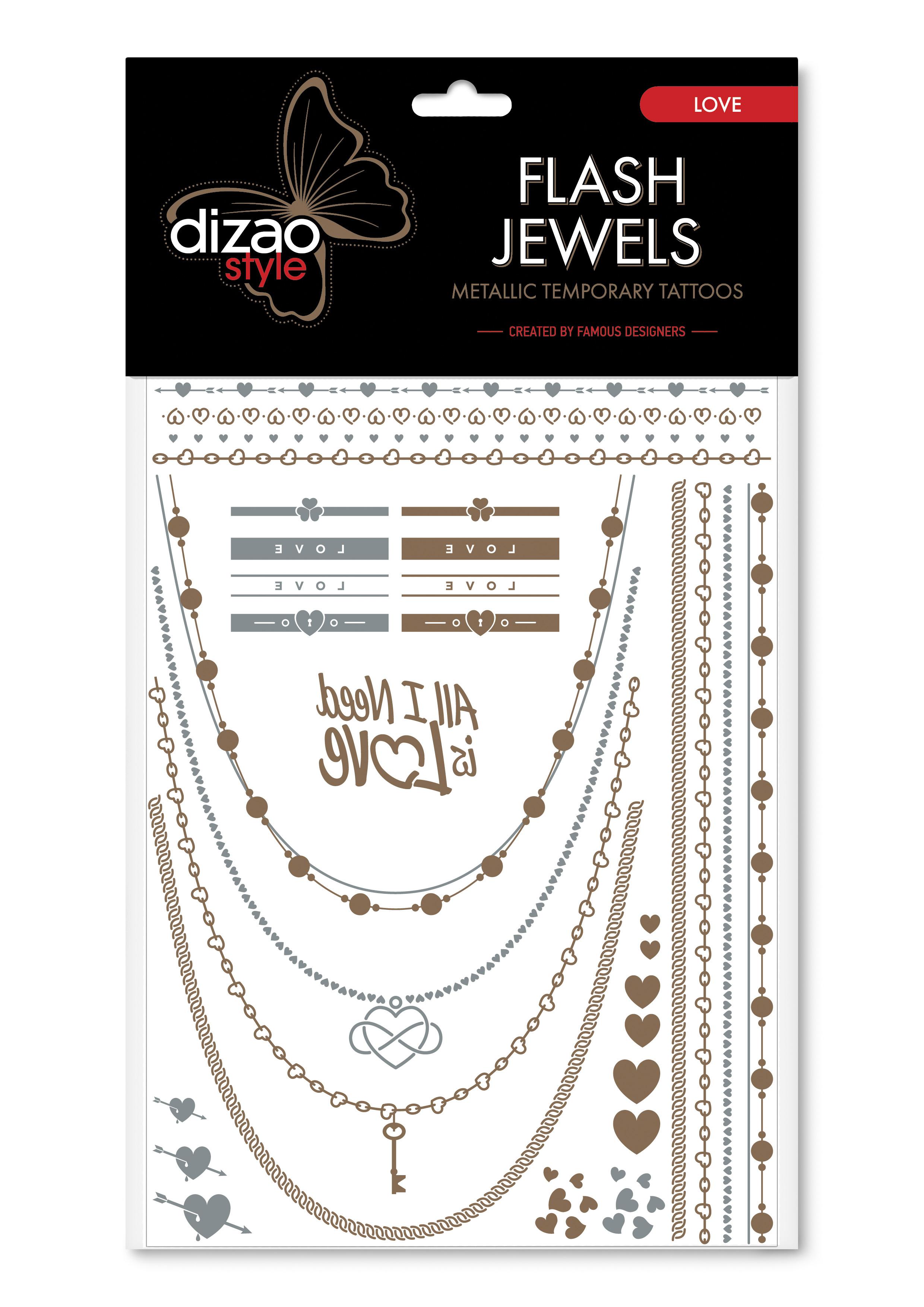 Dizao Временные золотые тату Flash Jewels: Любовь5292452002502Оригинальные золотистые временные татуировки Dizao Flash Jewels: Любовь позволят вам добавить изысканный штрих к вашему образу. В набор входит множество разнообразных дизайнов, которые вы сможете сочетать по своему вкусу. Откройте для себя мир идеальных линий и оригинальных дизайнов, которые заблистают на вашей коже благородным блеском золота и серебра. Позвольте украшениям стать органичной частью вашего тела. Следуйте самым последним тенденциям и всегда оставайтесь на пике моды. Подарите себе роскошь и непревзойденный стиль с тату Dizao. Премиальные золотые временные тату Flash Jewels: - имеют уникальные дизайны -держатся на коже продолжительное время, не теряя привлекательности -легко наносятся и удаляются -не вызывают покраснений и раздражений, не содержат токсичных компонентов Применять временные тату невероятно легко: вырежьте понравившуюся аппликацию, наложите ее рисунком вниз на сухую чистую кожу, прижмите к аппликации мокрую губку или...