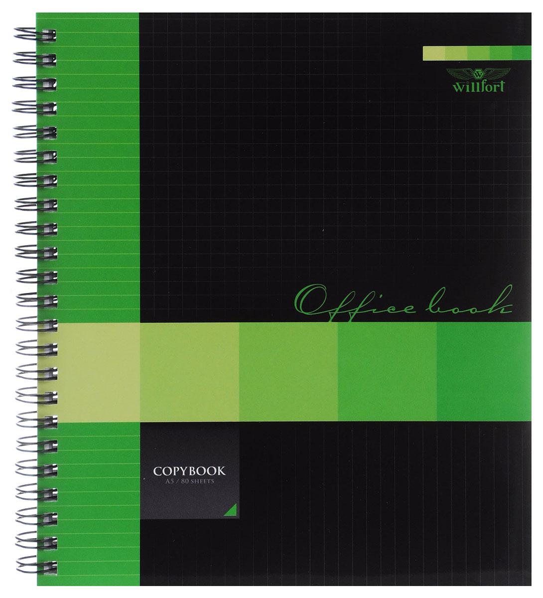 Hatber Тетрадь Office Book 80 листов в клетку цвет черный зеленый80Т5A1гр_12229Тетрадь Hatber Office Book подойдет как школьнику, так и студенту. Обложка, выполненная из плотного картона, позволит сохранить тетрадь в аккуратном состоянии на протяжении всего времени использования. Внутренний блок тетради, соединенный металлическим гребнем, состоит из 80 листов белой бумаги в серую клетку без полей.