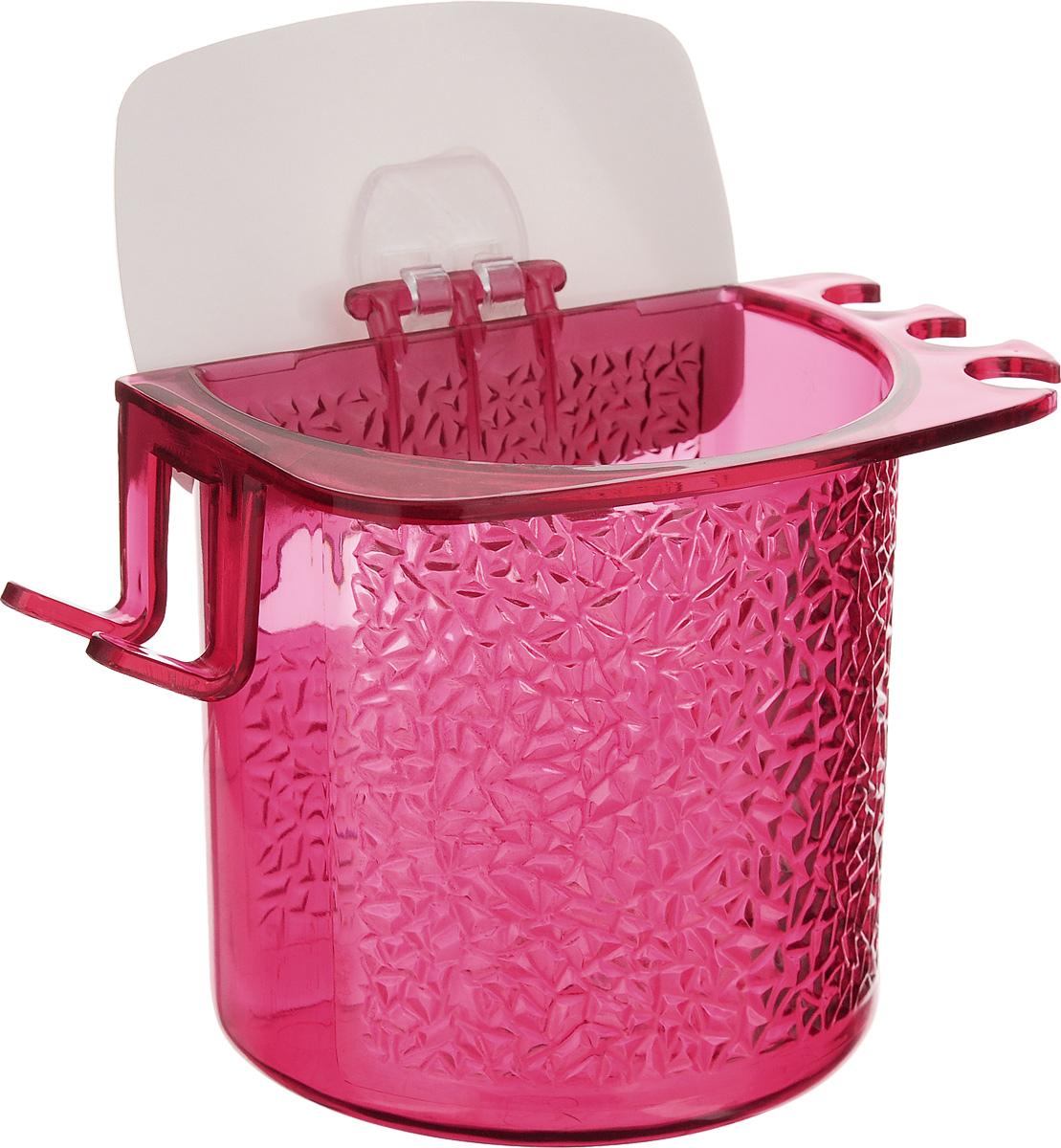 Стакан для ванной Fresh Code, на липкой основе, цвет: малиновый64945_малиновыйСтакан для ванной комнаты Fresh Code выполнен из ABS пластика. Крепление на липкой основе многократного использования идеально подходит для гладкой поверхности. С оборотной стороны изделие оснащено двумя отверстиями для удобного размещения на стене. В стакане удобно хранить зубные щетки, пасту и другие принадлежности. Аксессуары для ванной комнаты Fresh Code стильно украсят интерьер и добавят в обычную обстановку яркие и модные акценты. Стакан идеально подойдет к любому стилю ванной комнаты.