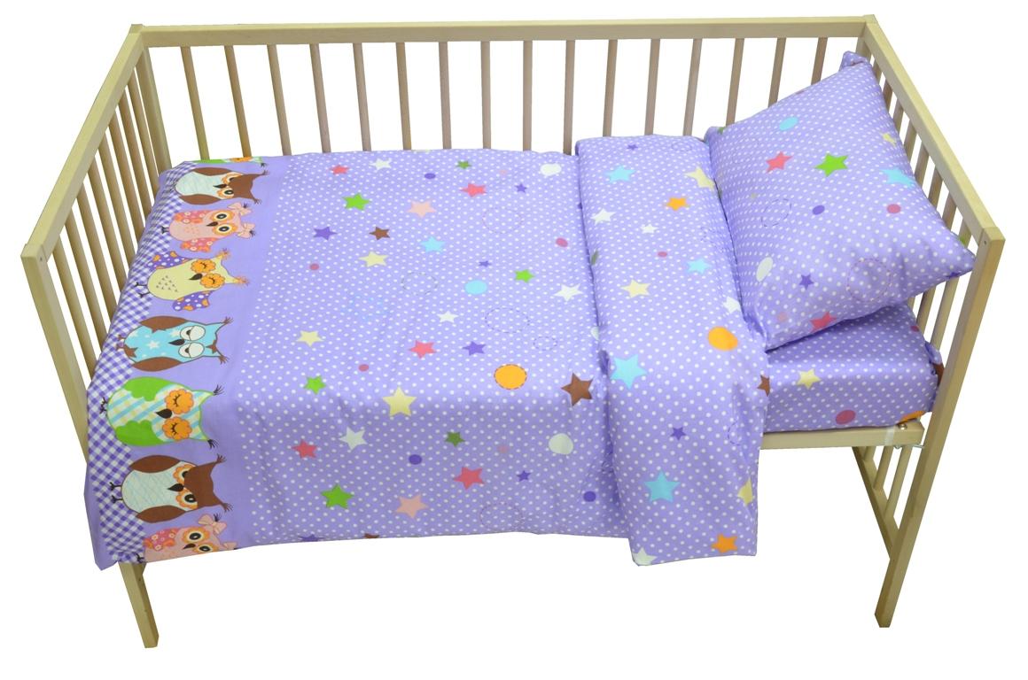 Bonne Fee Комплект белья для новорожденных Совы цвет фиолетовый