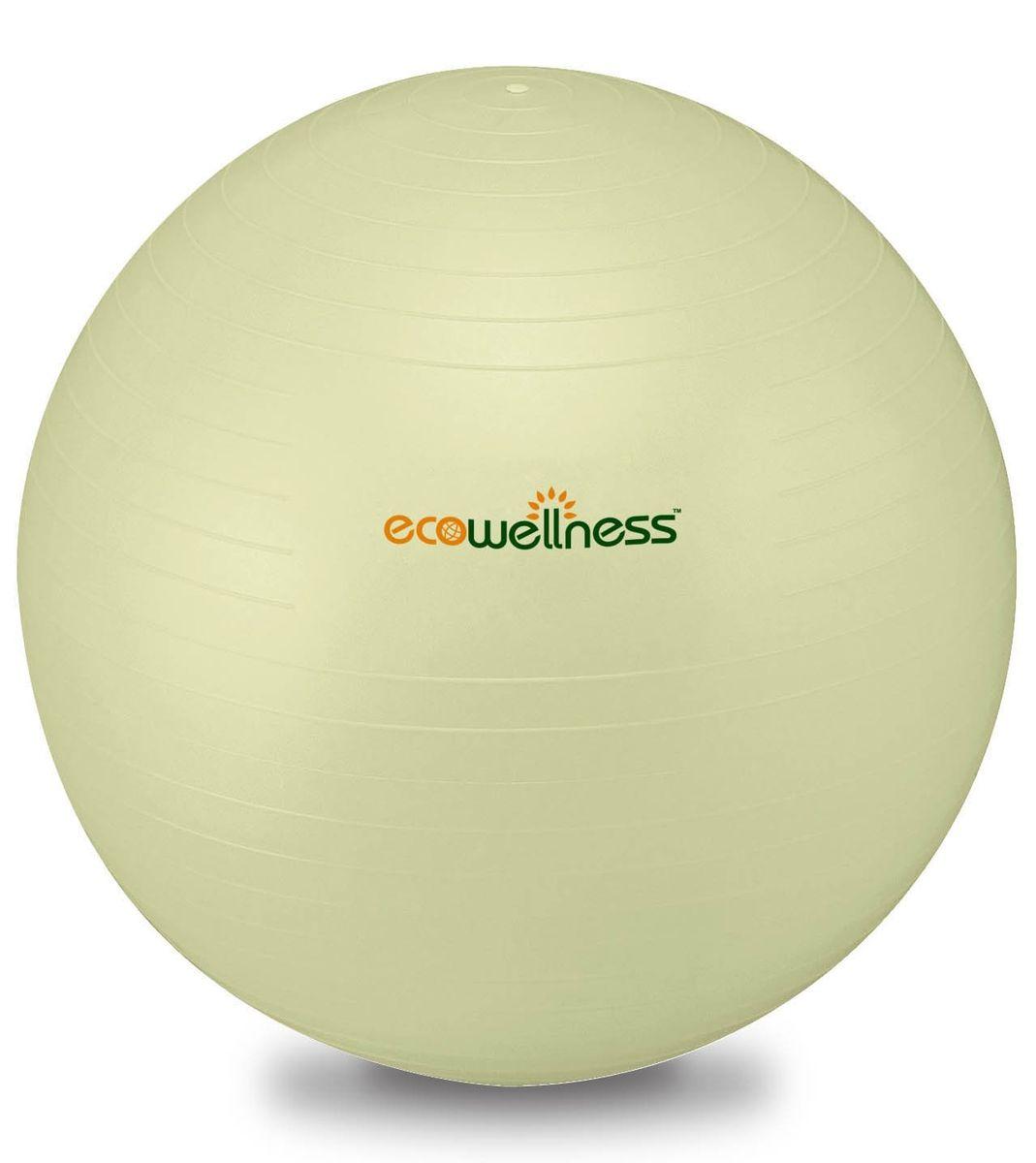 Мяч гимнастический Ecowellness 65 см, c ручным насосом, цвет: светло-зеленый. QB-001TAG3-26SF 0085Материал: прочный экологичный ПВХ. Система Анти-Взрыв. Идеально подходит для занятий аэробикой и фитнесом, а также для укрепления мышц верхней и нижней части тела. Диаметр: 65 см. Цвет: светло-зеленый. Привлекательная индивидуальная упаковка. В комплекте идет ручной насос.Отличный подарок для любителей фитнеса.