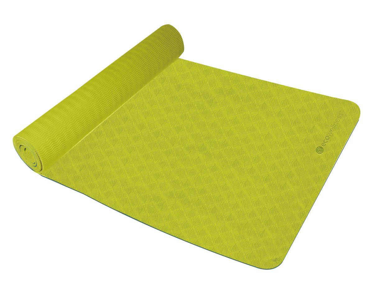 Kоврик для йоги Ecowellness, цвет: салатовый113007Прочный и мягкий коврик из TPE (термопластичный эластомер) обеспечивает Вашу безопасность и комфорт при занятиях. Идеально подходит для занятий йогой и фитнесом.Легко чистится. Двухцветный дизайн.В комплект входит ремень для переноскиРазмер: 173 х 61 см Толщина: 4 ммПривлекательная индивидуальная упаковка.Отличный подарок для любителей йоги.