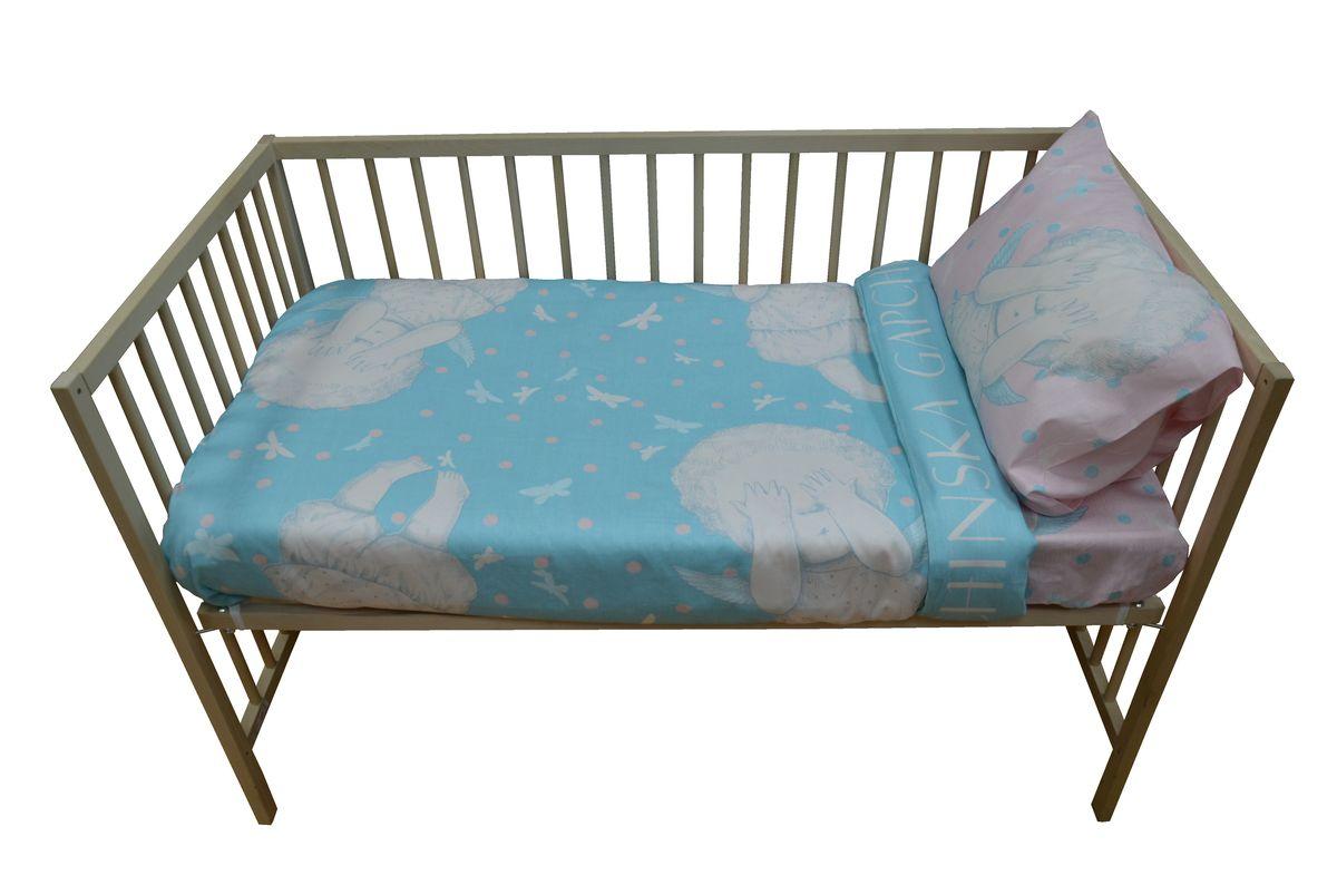 Коллекция Комплект детского постельного белья Бабочки в моей голове простыня на резинке цвет голубой розовой