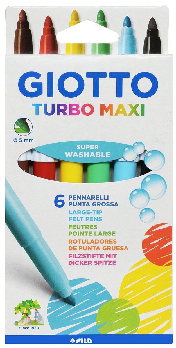 Giotto Фломастеры Turbo Maxi 6 цветов499962Фломастеры Giotto Turbo Maxi - это 6 ярких насыщенных цветов в разноцветных пластиковых корпусах (цвет корпуса соответствует цвету чернил). Наконечники фломастеров устойчивы к повышенному давлению и не разнашивается со временем. Каждый фломастер оснащен плотным вентилируемым колпачком, защищающим чернила от испарения.Фломастеры утолщенной формы, что очень удобно для детских пальчиков. Чернила изготовлены на водной основе. Легко отстирываются и смываются с рук.Фломастеры Giotto Turbo Color - идеальный инструмент для самовыражения и развития маленького художника!