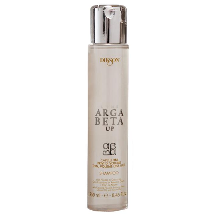 Dikson Shampoo Argabeta Up Capelli Di Volume Шампунь для тонких волос 250 млdiks2470Шампунь для тонких, лишенных объема волос с порошкообразной целлюлозой, эфирным маслом сладкого апельсина, маслом Аргана. Создает эффект дополнительной пышности и объема, способствует укреплению волосяного волокна изнутри, делает тонкие волосы более густыми и сильными, придает им естественный объем от корней до кончиков, восстанавливает структуру волос, придавая им ощутимую легкость, мягкость и блеск.