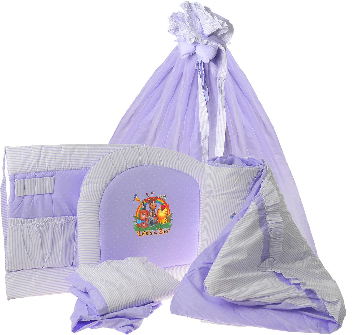Топотушки Комплект детского постельного белья Нежность цвет сиреневый 8 предметов4630008873618Комплект постельного белья Топотушки Нежность из восьми предметов включает все необходимые элементы для детской кроватки. Комплект создает для вашего ребенка уют, комфорт и безопасную среду с рождения. Современный дизайн и цветовые сочетания помогают ребенку адаптироваться в новом для него мире. Комплект хорошо вписывается в интерьер, как детской комнаты, так и спальни родителей. Российское происхождение комплекта гарантирует стабильно высокое качество, соответствие актуальным пожеланиям потребителей. Комплект включает в себя: балдахин 3 метра, охранный бампер 360 см х 40 см, подушка 40 см х 60 см, одеяло 140 см х 110 см, наволочка 40 см х 60 см, пододеяльник 147 см х 112 см, простынь на резинке 120 см х 60 см, карман прикроватный. Мягкий борт защитит малыша от сквозняков и убережет от возможных ударов о бортики кроватки. Наполнитель борта - холлофайбер. Балдахин длиной 3 метра создает для вашего малыша индивидуальную зону комфорта:...