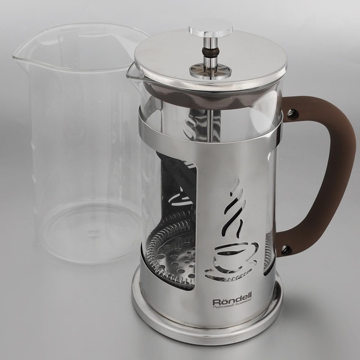 Френч-пресс Rondell Mocco&Latte, с мерной ложкой, со сменной колбой, 1 лRDS-491Френч-пресс Rondell Mocco&Latte изготовлен из высококачественной нержавеющей стали, жаропрочного стекла и пластика. Жаропрочное стекло может выдерживать температуру до 180°С. Засыпая чайную заварку или кофе под фильтр, заливая горячей водой, вы получаете ароматный напиток с оптимальной крепостью и насыщенностью. Остановить процесс заваривания легко, для этого нужно просто опустить поршень, и все уйдет вниз, оставляя вверху напиток, готовый к употреблению. Френч-пресс Rondell Mocco&Latte позволит быстро и просто приготовить свежий и ароматный кофе или чай. В комплект входит сменная колба и мерная ложка. Диаметр френч-пресса по верхнему краю (без учета крышки): 10 см. Высота френч-пресса: 24 см. Длина ложки: 10 см. Диаметр рабочей поверхности ложки: 4,5 см.
