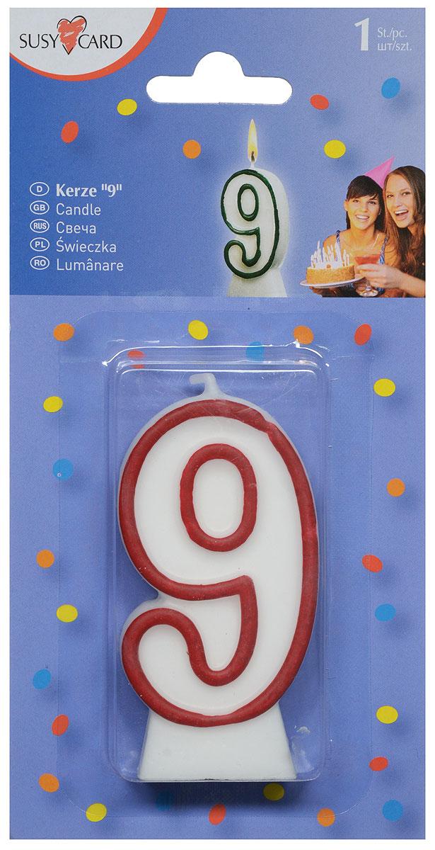 Susy Card Свеча-цифра для торта 9 лет цвет красный