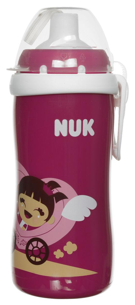NUK Бутылочка-поильник Flexi Cup с трубочкой от 18 месяцев цвет бордовый 300 мл