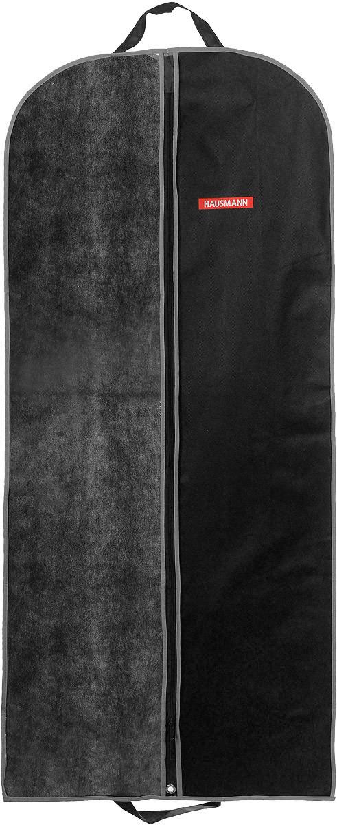 Чехол для одежды Hausmann, подвесной, с прозрачной вставкой, цвет: черный, 60 х 140 смHM-701402AGПодвесной чехол для одежды Hausmann на застежке-молнии выполнен из высококачественного нетканого материала. Чехол снабжен прозрачной вставкой из ПВХ, что позволяет легко просматривать содержимое. Изделие подходит для длительного хранения вещей. Чехол обеспечит вашей одежде надежную защиту от влажности, повреждений и грязи при транспортировке, от запыления при хранении и проникновения моли. Чехол обладает водоотталкивающими свойствами, а также позволяет воздуху свободно поступать внутрь вещей, обеспечивая их кондиционирование. Это особенно важно при хранении кожаных и меховых изделий. Чехол для одежды Hausmann создаст уютную атмосферу в гардеробе. Лаконичный дизайн придется по вкусу ценительницам эстетичного хранения и сделают вашу гардеробную изысканной и невероятно стильной. Размер чехла (в собранном виде): 60 х 140 см.