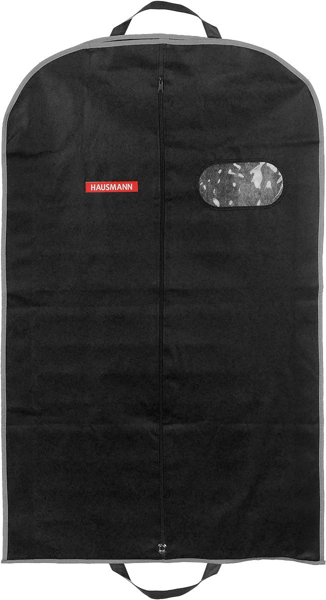 Чехол для одежды Hausmann, подвесной, с прозрачной вставкой, цвет: черный, 60 х 100 х 10 смHM-701003AGПодвесной чехол для одежды Hausmann на застежке-молнии выполнен из высококачественного нетканого материала. Чехол снабжен прозрачной вставкой из ПВХ, что позволяет легко просматривать содержимое. Изделие подходит для длительного хранения вещей. Чехол обеспечит вашей одежде надежную защиту от влажности, повреждений и грязи при транспортировке, от запыления при хранении и проникновения моли. Чехол обладает водоотталкивающими свойствами, а также позволяет воздуху свободно поступать внутрь вещей, обеспечивая их кондиционирование. Это особенно важно при хранении кожаных и меховых изделий. Чехол для одежды Hausmann создаст уютную атмосферу в гардеробе. Лаконичный дизайн придется по вкусу ценительницам эстетичного хранения и сделают вашу гардеробную изысканной и невероятно стильной. Размер чехла (в собранном виде): 60 х 100 х 10 см.