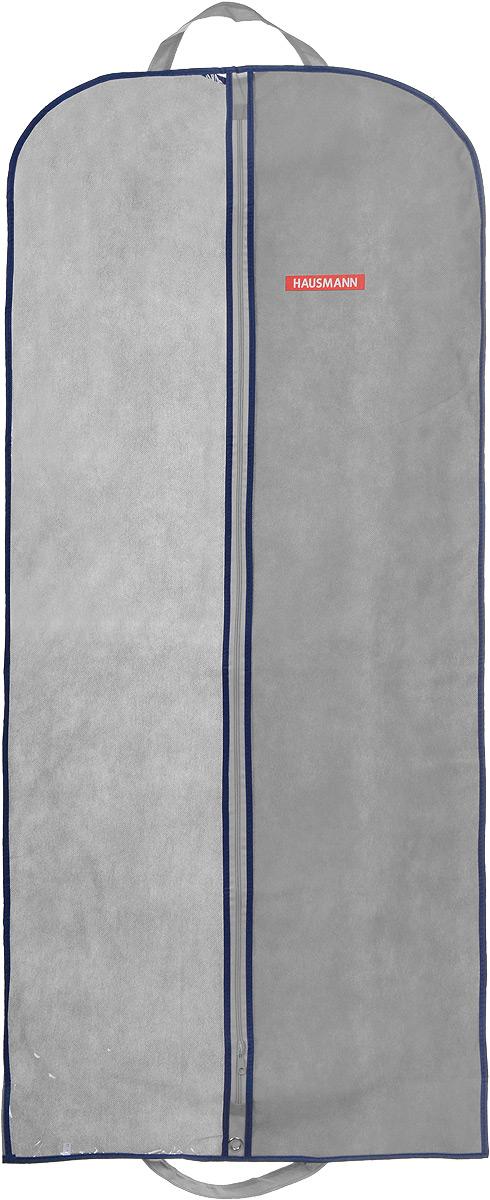 Чехол для одежды Hausmann, подвесной, с прозрачной вставкой, цвет: серый, 60 х 140 смHM-701402GNПодвесной чехол для одежды Hausmann на застежке-молнии выполнен из высококачественного нетканого материала. Чехол снабжен прозрачной вставкой из ПВХ, что позволяет легко просматривать содержимое. Изделие подходит для длительного хранения вещей. Чехол обеспечит вашей одежде надежную защиту от влажности, повреждений и грязи при транспортировке, от запыления при хранении и проникновения моли. Чехол обладает водоотталкивающими свойствами, а также позволяет воздуху свободно поступать внутрь вещей, обеспечивая их кондиционирование. Это особенно важно при хранении кожаных и меховых изделий. Чехол для одежды Hausmann создаст уютную атмосферу в гардеробе. Лаконичный дизайн придется по вкусу ценительницам эстетичного хранения и сделают вашу гардеробную изысканной и невероятно стильной. Размер чехла (в собранном виде): 60 х 140 см.
