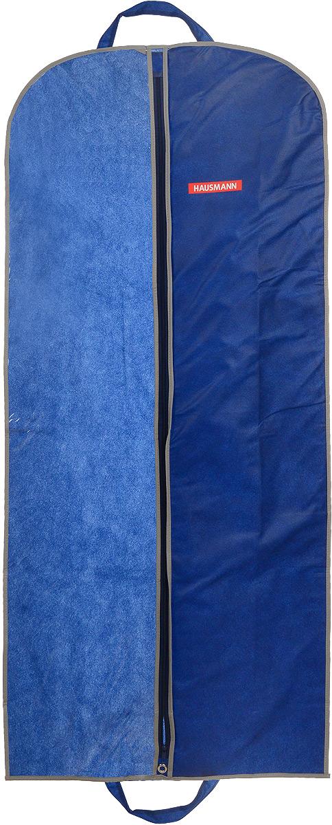 Чехол для одежды Hausmann, подвесной, с прозрачной вставкой, цвет: синий, 60 х 140 смHM-701402NGПодвесной чехол для одежды Hausmann на застежке-молнии выполнен из высококачественного нетканого материала. Чехол снабжен прозрачной вставкой из ПВХ, что позволяет легко просматривать содержимое. Изделие подходит для длительного хранения вещей. Чехол обеспечит вашей одежде надежную защиту от влажности, повреждений и грязи при транспортировке, от запыления при хранении и проникновения моли. Чехол обладает водоотталкивающими свойствами, а также позволяет воздуху свободно поступать внутрь вещей, обеспечивая их кондиционирование. Это особенно важно при хранении кожаных и меховых изделий. Чехол для одежды Hausmann создаст уютную атмосферу в гардеробе. Лаконичный дизайн придется по вкусу ценительницам эстетичного хранения и сделают вашу гардеробную изысканной и невероятно стильной. Размер чехла (в собранном виде): 60 х 140 см.