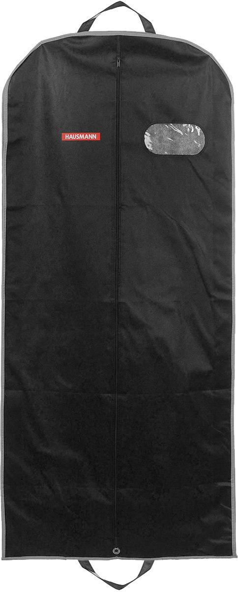 Чехол для одежды Hausmann, подвесной, с прозрачной вставкой, цвет: черный, 60 х 140 х 10 смHM-701403AGПодвесной чехол для одежды Hausmann на застежке-молнии выполнен из высококачественного нетканого материала. Чехол снабжен прозрачной вставкой из ПВХ, что позволяет легко просматривать содержимое. Изделие подходит для длительного хранения вещей. Чехол обеспечит вашей одежде надежную защиту от влажности, повреждений и грязи при транспортировке, от запыления при хранении и проникновения моли. Чехол обладает водоотталкивающими свойствами, а также позволяет воздуху свободно поступать внутрь вещей, обеспечивая их кондиционирование. Это особенно важно при хранении кожаных и меховых изделий. Чехол для одежды Hausmann создаст уютную атмосферу в гардеробе. Лаконичный дизайн придется по вкусу ценительницам эстетичного хранения и сделают вашу гардеробную изысканной и невероятно стильной. Размер чехла (в собранном виде): 60 х 140 х 10 см.