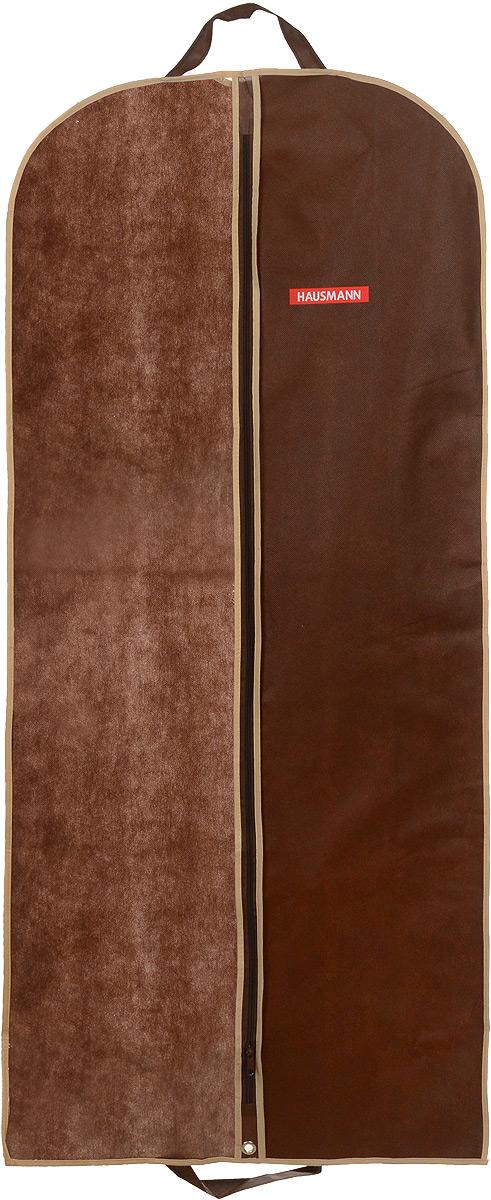 Чехол для одежды Hausmann, подвесной, с прозрачной вставкой, цвет: коричневый, 60 х 140 смHM-701402CBПодвесной чехол для одежды Hausmann на застежке-молнии выполнен из высококачественного нетканого материала. Чехол снабжен прозрачной вставкой из ПВХ, что позволяет легко просматривать содержимое. Изделие подходит для длительного хранения вещей. Чехол обеспечит вашей одежде надежную защиту от влажности, повреждений и грязи при транспортировке, от запыления при хранении и проникновения моли. Чехол обладает водоотталкивающими свойствами, а также позволяет воздуху свободно поступать внутрь вещей, обеспечивая их кондиционирование. Это особенно важно при хранении кожаных и меховых изделий. Чехол для одежды Hausmann создаст уютную атмосферу в гардеробе. Лаконичный дизайн придется по вкусу ценительницам эстетичного хранения и сделают вашу гардеробную изысканной и невероятно стильной. Размер чехла (в собранном виде): 60 х 140 см.