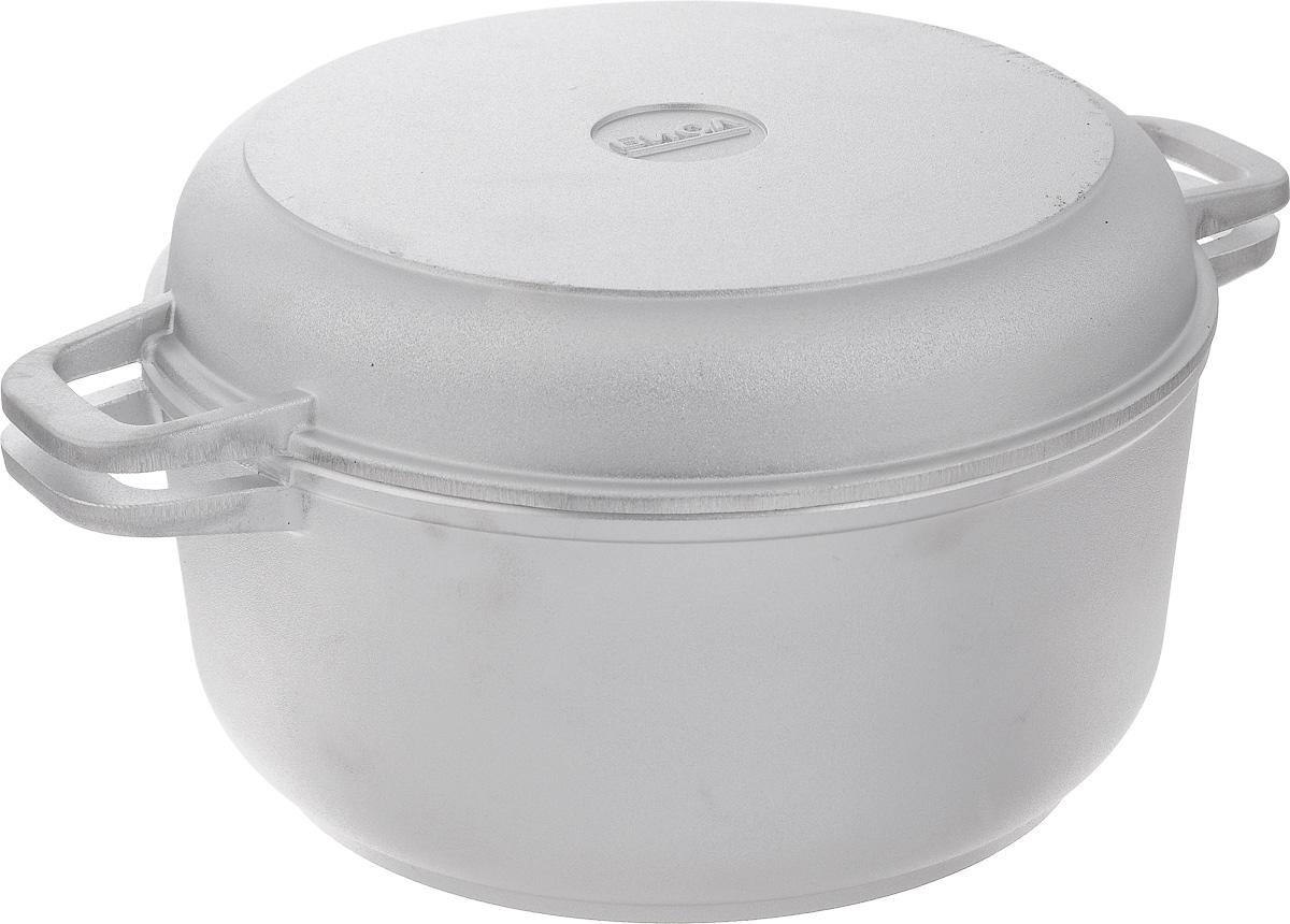 Кастрюля Биол с крышкой-сковородой, 4 лК402Кастрюля Биол изготовлена из литого алюминия с утолщенным дном. Изделие оснащено плотно прилегающей крышкой, которая также является сковородкой. Кастрюля снабжена двумя эргономичными ручками для комфортного хвата. Кастрюлю и крышку можно использовать как вместе, так и отдельно. Нельзя оставлять приготовленную пищу в посуде для хранения. Кастрюлю можно использовать на газовых, электрических и стеклокерамических плитах, но кроме индукционных. Рекомендовано мыть вручную. Диаметр кастрюли по верхнему краю: 24 см. Ширина кастрюли (с учетом ручек): 33 см. Высота стенки кастрюли: 11,3 см. Толщина стенки: 4 мм. Толщина дна: 7 мм. Диаметр крышки по верхнему краю: 23 см. Высота крышки: 4,3 см. Ширина крышки с учетом ручек: 33 см.