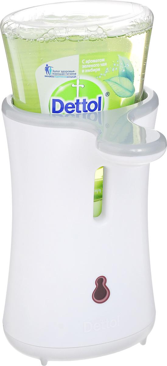 Диспенсер для антибактериального жидкого мыла Dettol, с запасным блоком, с ароматом зеленого чая и имбиря, 250 мл8123586Диспенсер для антибактериального жидкого мыла Dettol с сенсорной системой No Touch помогает превратить мытье рук в быструю и легкую процедуру. Диспенсер удобен в использовании, мыло дозируется автоматически, необходимо просто намочить руки и поднести их к сенсору диспенсера. Антибактериальное жидкое мыло для рук с ароматом зеленого чая и имбиря содержит увлажняющие компоненты, которые заботятся о ваших руках, и одновременно убивают 99,9% бактерий. В комплект входят: диспенсер, сменный блок с антибактериальным жидким мылом для рук, 3 батарейки. Объем мыла: 250 мл. Товар сертифицирован.