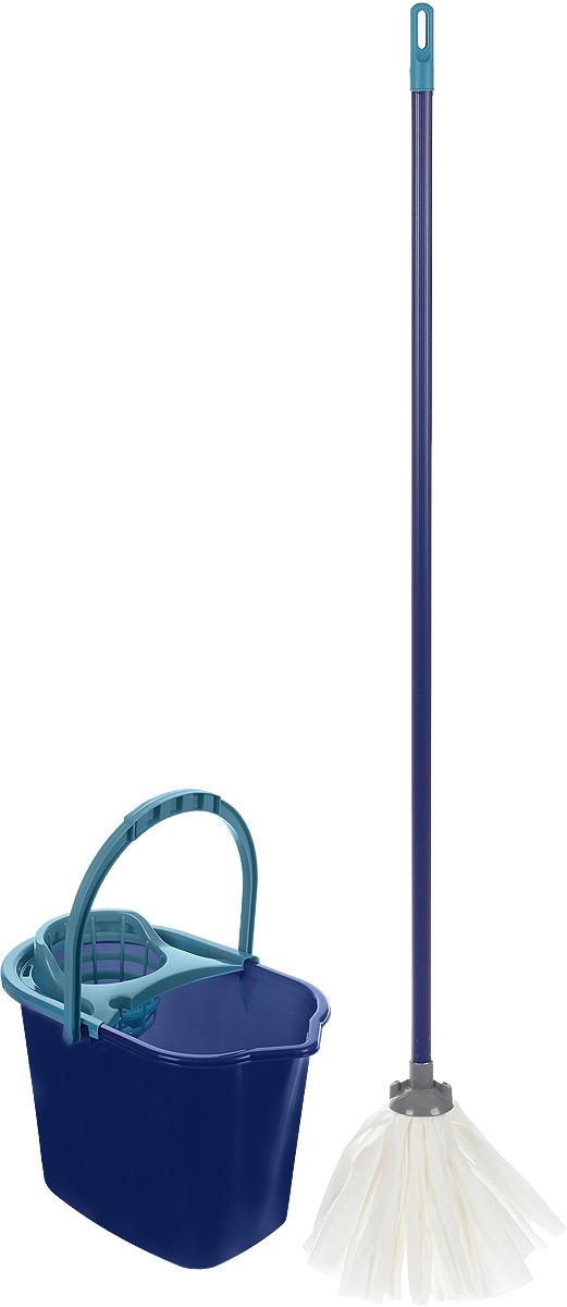 Набор для уборки York Mop Set, 3 предмета. 72027202_синий, морская волнаНабор York предназначен для уборки любых типов напольных покрытий, включая паркет и ламинат. Специальная структура микроактивного волокна лепестковой насадки убирает даже сильные, затвердевшие загрязнения, не оставляя разводов и эффективно впитывает влагу. Благодаря специальному ведру со встроенным отжимом, уборка станет быстрой и гигиеничной, так как вы сможете выжимать швабру в предназначенном для этого ведре, не пачкая руки. Такой набор сделает уборку легкой и обеспечит идеальную чистоту вашего пола без разводов и царапин. Размер ведра по верхнему краю: 36 х 24,5 см. Высота ведра: 27 см. Объем ведра: 10 л. Длина черенка: 108 см. Диаметр черенка: 2 см. Средняя длина волокон лепестковой насадки: 19,5 см. Диаметр отверстия для черенка: 2 см.