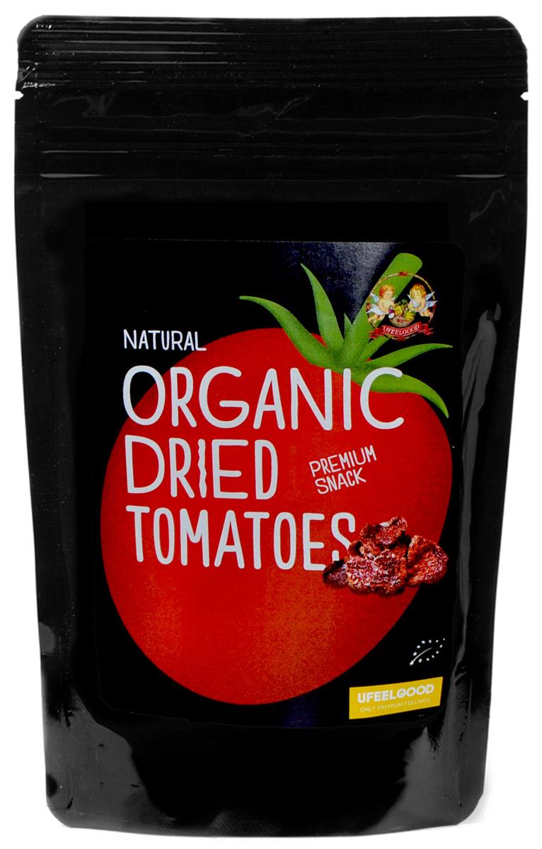 UFEELGOOD Organic Dried Tomatoes органические вяленные томаты, 100 г0120710Томаты как таковые – кладезь полезных веществ, актуальных для всех. Это источник хорошо усваиваемых витаминов А и С, калия, железа, кальция. Причем максимум витаминов и минералов содержится – в кожуре! И вяление позволяет в полной мере сохранить в томатах эти ценные для здоровья человека компоненты.Вяленые томаты вкусны как сами по себе, так и в качестве добавки к салатам, макаронам, супам, домашним соусам, как элемент начинки для бутербродов или пиццы.Регулярное употребление томатов (вяленых в том числе) весьма актуально для мужчин: содержащийся в них ликопен значительно уменьшает риск возникновения рака простаты. И еще вяленые томаты – вкусное средство профилактики железодефицита, проблем с сердцем и суставами, развития опухолей.