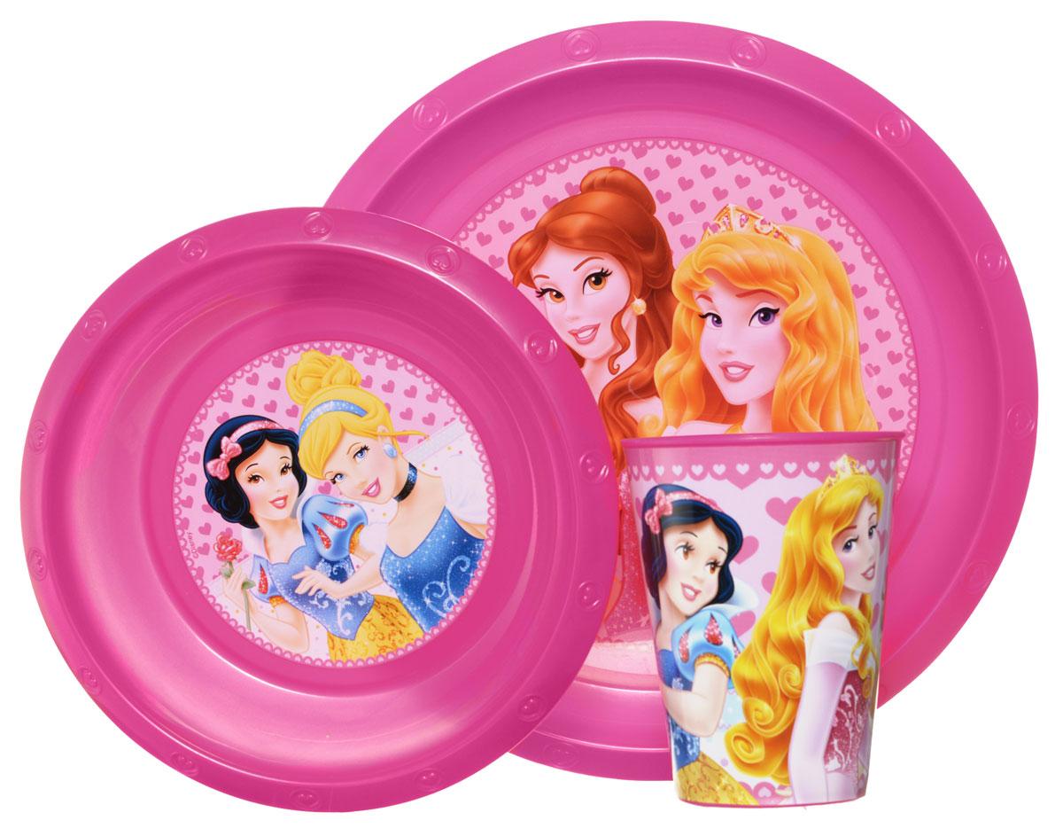 Disney Набор детской посуды Princess 3 предмета52210Красочный набор посуды Disney Princesss, выполненный из качественного полипропилена, идеально подойдет для повседневного использования. В комплект входят: тарелка диаметром 23 см, миска диаметром 16 см и стаканчик объемом 270 мл. Все предметы выполнены в оригинальном дизайне с изображениями принцесс Disney. Набор посуды непременно доставит массу удовольствия своему обладателю.