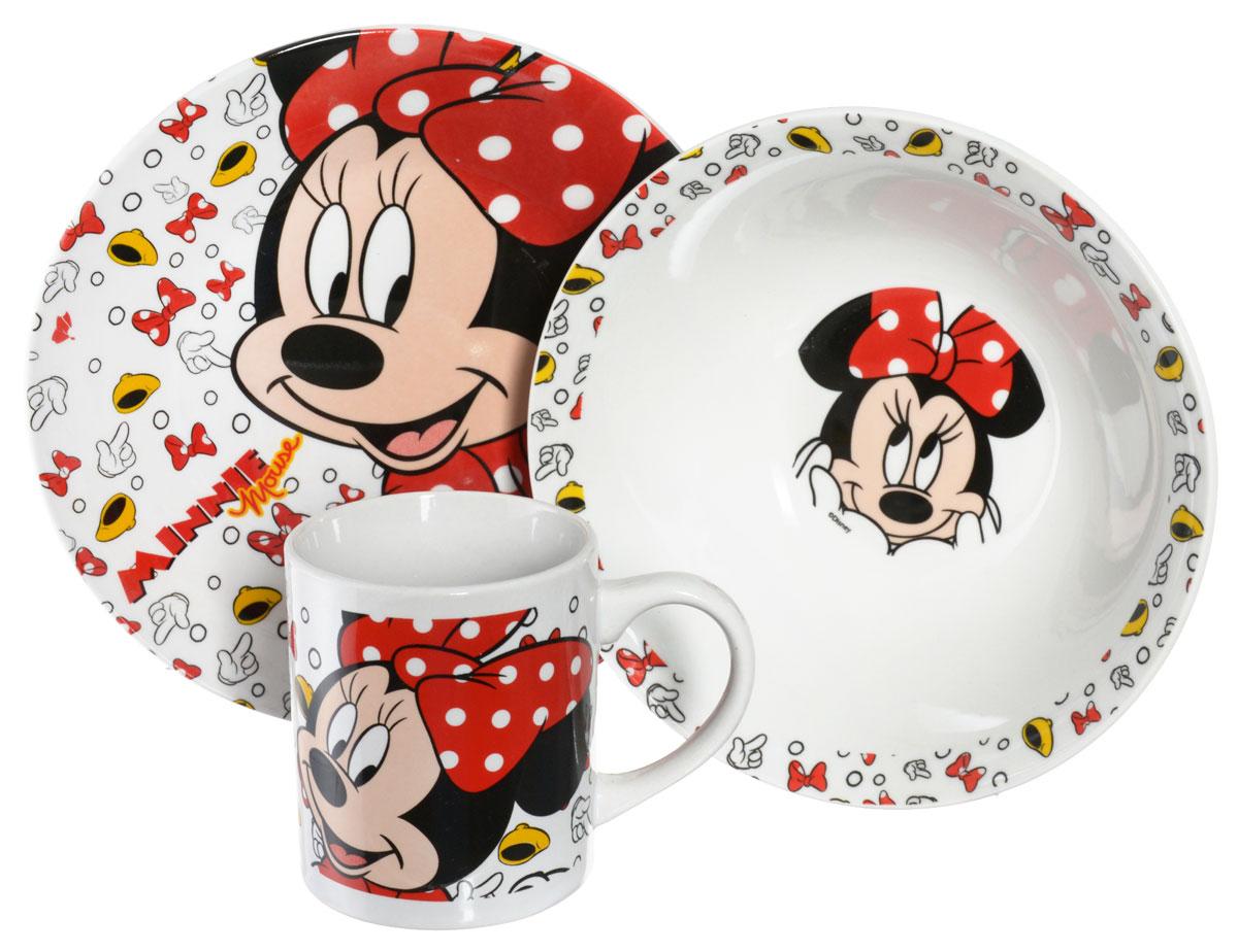 Disney Набор детской посуды Minnie Mouse 3 предмета115610Набор детской посуды Disney Minnie Mouse, выполненный из керамики, состоит из кружки, тарелки и салатника. Изделия оформлены изображением знаменитой Минни Маус. Материалы изделий нетоксичны и безопасны для детского здоровья. Детская посуда удобна и увлекательна для вашего малыша. Привычная еда станет более вкусной и приятной, если процесс кормления сопровождать игрой и сказками о любимых героях. Красочная посуда является залогом хорошего настроения и аппетита ваших детей. Можно использовать в СВЧ-печи и посудомоечной машине. Диаметр тарелки: 19 см. Диаметр салатника: 17,5 см. Высота салатника: 6 см. Объем кружки: 210 мл. Диаметр кружки (по верхнему краю): 7 см. Высота кружки: 8 см.