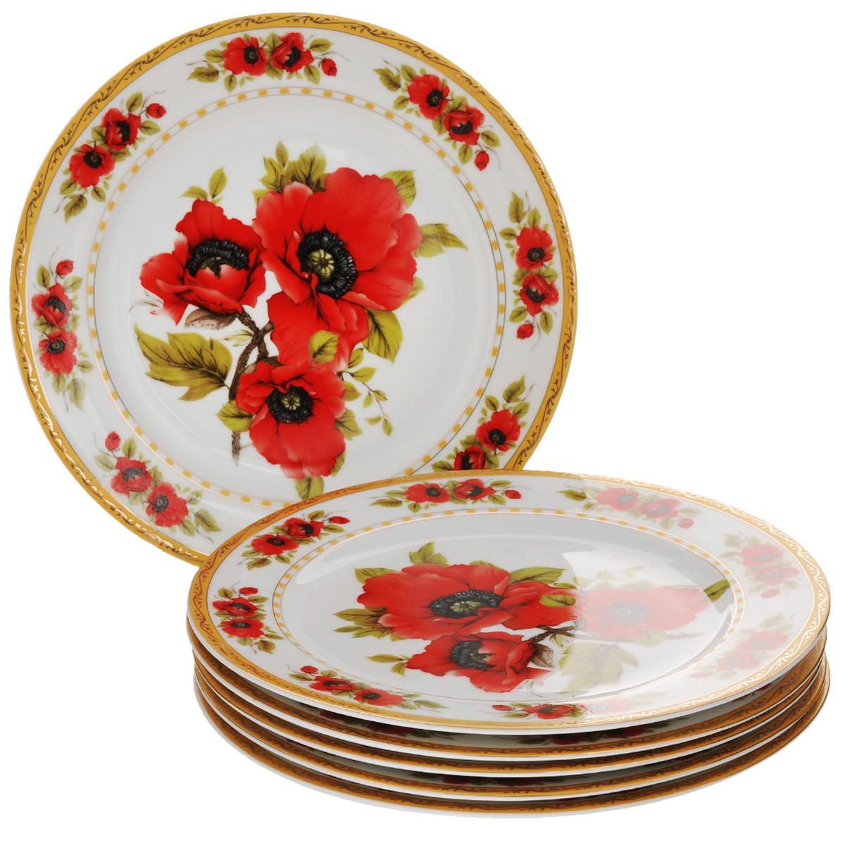 Набор обеденных тарелок Elan Gallery Маки, диаметр 23 см, 6 шт503620Набор Elan Gallery Маки состоит из 6 обеденных тарелок, выполненных из высококачественной керамики. Изделия предназначены для красивой сервировки различных блюд и украшены цветочным рисунком. Набор сочетает в себе стильный дизайн с максимальной функциональностью. Оригинальность оформления придется по вкусу и ценителям классики, и тем, кто предпочитает утонченность и изящность. Не использовать в микроволновой печи. Диаметр тарелки (по верхнему краю): 23 см. Высота тарелки: 1,7 см.