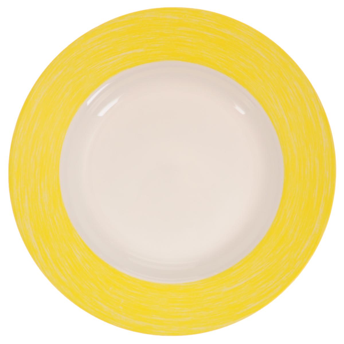 Тарелка глубокая Luminarc Color Days Yellow, диаметр 22 смL1520Глубокая тарелка Luminarc Color Days Yellow, изготовленная из ударопрочного стекла, прекрасно подойдет для подачи различных блюд. Изделие украсит ваш праздничный или обеденный стол, а оригинальное исполнение понравится любой хозяйке. Диаметр тарелки (по верхнему краю): 22 см.