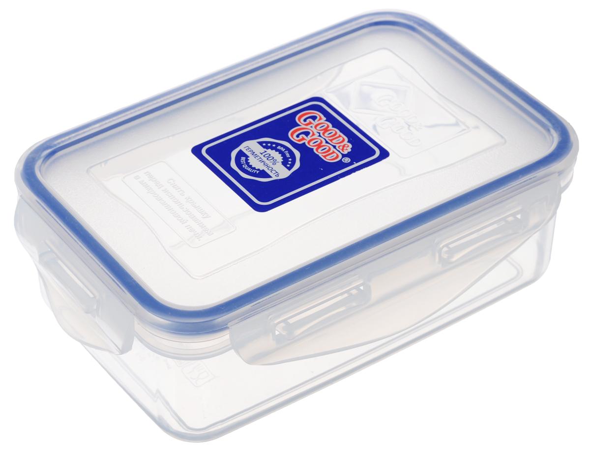Контейнер Good&Good, цвет: прозрачный, синий, 0,8 л2-2Пищевой контейнер Good&Good изготовлен из высококачественного пищевого пластика, который выдерживает температуру от -24°С до +125°С. Контейнер безопасен для здоровья, не содержит BPA. Контейнер имеет прямоугольную форму и оснащен плотно закрывающейся крышкой. Продукт подходит для контакта с пищевыми продуктами. Можно мыть в посудомоечной машине. Размер контейнера (с учетом крышки): 16 х 11 х 7 см.