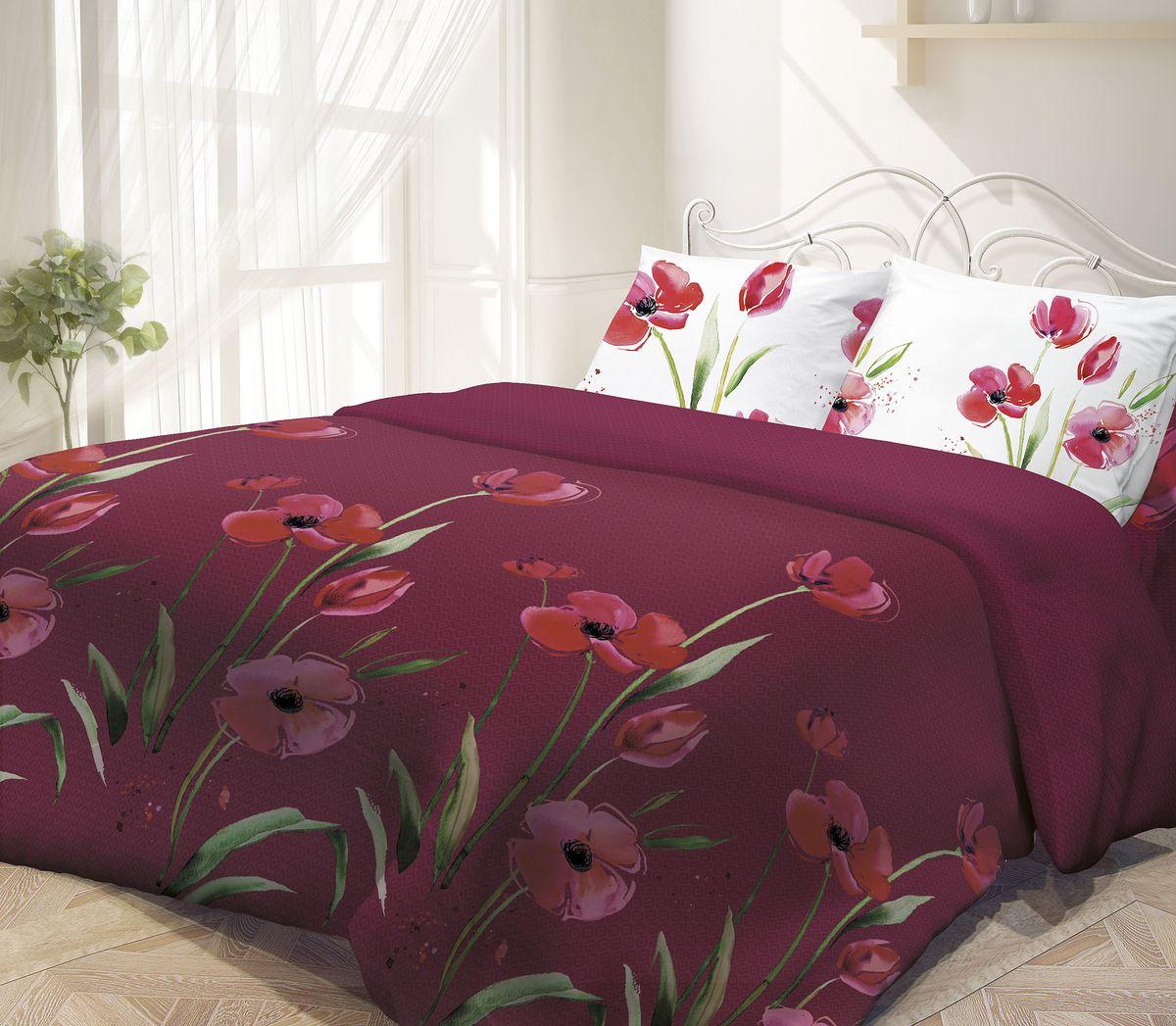 Комплект белья Гармония, 1,5-спальный, наволочки 50х70, цвет: белый, бордовый190818Комплект постельного белья Гармония является экологически безопасным, так как выполнен из поплина (100% хлопка). Комплект состоит из пододеяльника, простыни и двух наволочек. Постельное белье оформлено изображением цветов и имеет изысканный внешний вид. Постельное белье Гармония - лучший выбор для современной хозяйки! Его отличают демократичная цена и отличное качество. Поплин мягкий и приятный на ощупь. Кроме того, эта ткань не требует особого ухода, легко стирается и прекрасно держит форму. Высококачественные красители, которые используются при производстве постельного белья, сохраняют свой цвет даже после многочисленных стирок.