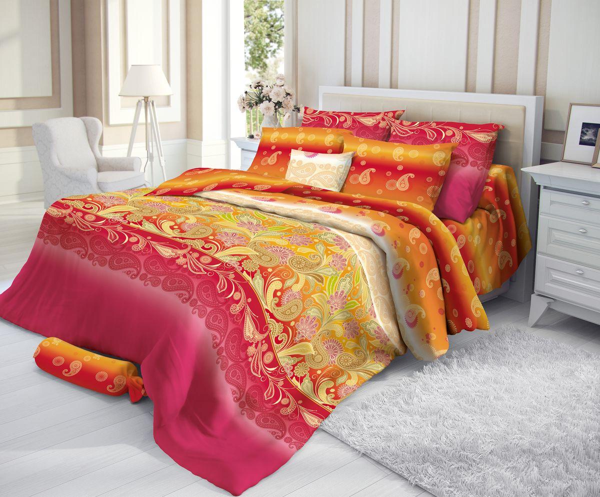 Комплект белья Verossa, 2-спальный, наволочки 50х70, цвет: красный, желтый191979Сатин - настоящая роскошь для любителей понежиться в постели. Вас манит его блеск, завораживает гладкость, ласкает мягкость, и каждая минута с ним - истинное наслаждение. Тонкая пряжа и атласное переплетение нитей обеспечивают сатину мягкость и деликатность. Легкий блеск сатина делает дизайны живыми и переливающимися. 100% хлопок, не электризуется и отлично пропускает воздух, ткань дышит. Легко стирается и практически не требует глажения. Не линяет, не изменяет вид после многочисленных стирок.