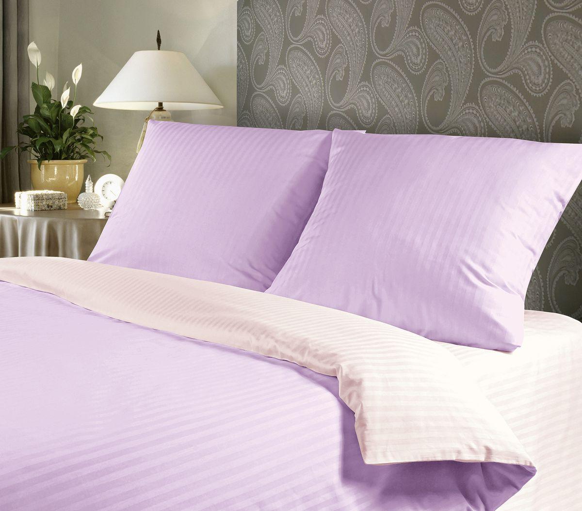 Комплект белья Verossa, 2-спальный, наволочки 70х70, цвет: сиреневый, белый192831Сатин - настоящая роскошь для любителей понежиться в постели. Вас манит его блеск, завораживает гладкость, ласкает мягкость, и каждая минута с ним - истинное наслаждение. Тонкая пряжа и атласное переплетение нитей обеспечивают сатину мягкость и деликатность. Легкий блеск сатина делает дизайны живыми и переливающимися. 100% хлопок, не электризуется и отлично пропускает воздух, ткань дышит. Легко стирается и практически не требует глажения. Не линяет, не изменяет вид после многочисленных стирок.