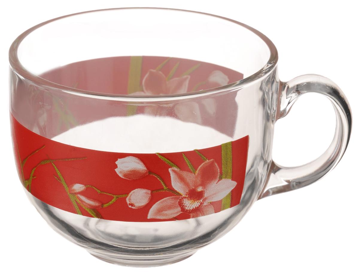 Кружка Luminarc Red Orchis. Джамбо, 500 мл115610Кружка Luminarc Red Orchis. Джамбо изготовлена из ударопрочного стекла. Такая кружка прекрасно подойдет для горячих и холодных напитков. Она дополнит коллекцию вашей кухонной посуды и будет служить долгие годы. Диаметр кружки (по верхнему краю): 10,5 см.