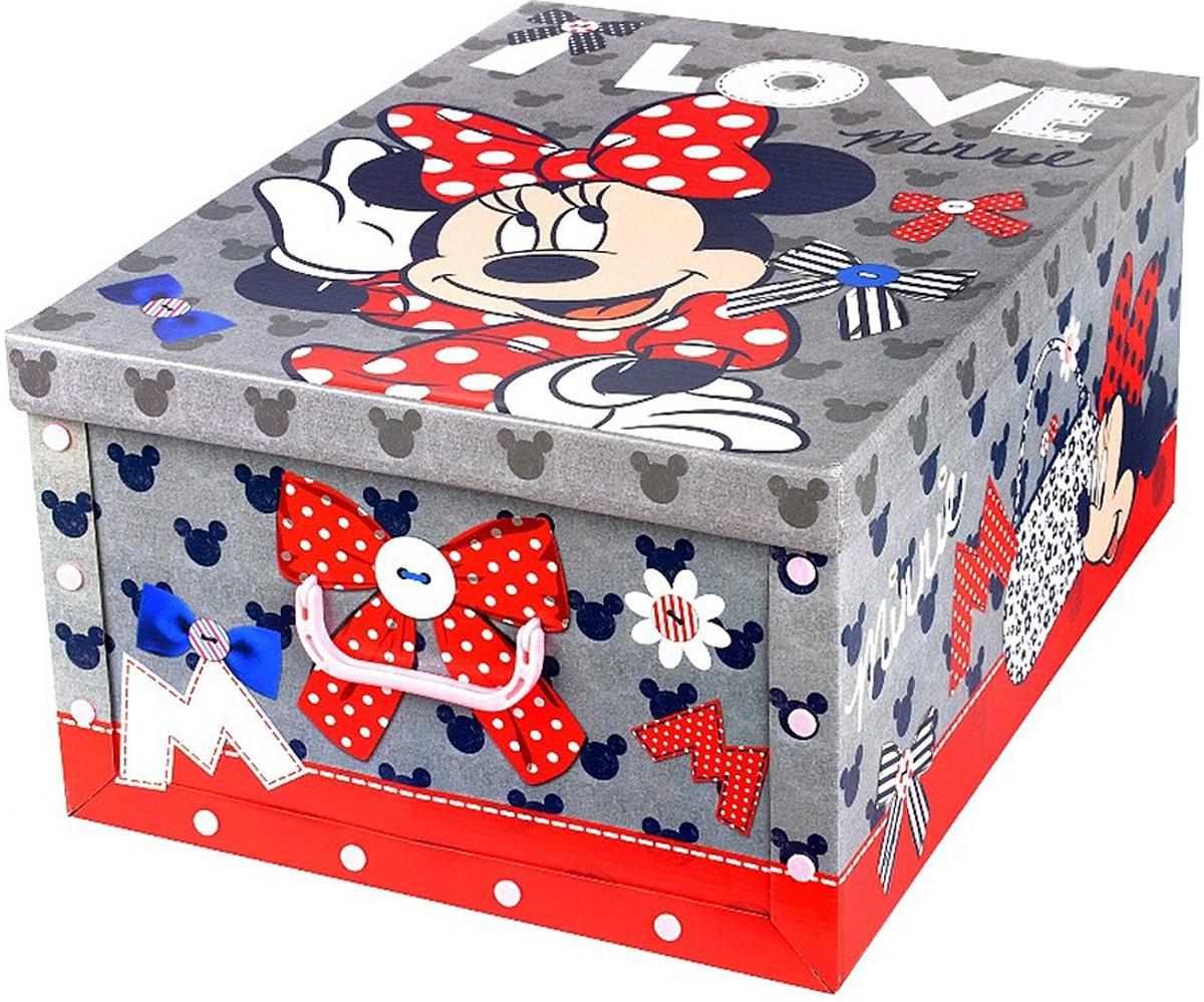 Коробка для хранения Disney Минни, 40 х 50 х 25 см64840Коробка для хранения Disney Минни, выполненная из высококачественного гофрированного картона, идеально подойдет для хранения игрушек, одежды, книг, канцелярских принадлежностей и других мелких предметов. Изделие легко собирается и не занимает много места. Коробка оснащена удобными ручками для транспортировки. Коробка Disney Минни поможет хранить все в одном месте, а также защитить вещи от пыли, грязи и влаги. Размер коробки (в собранном виде): 40 х 50 х 25 см.