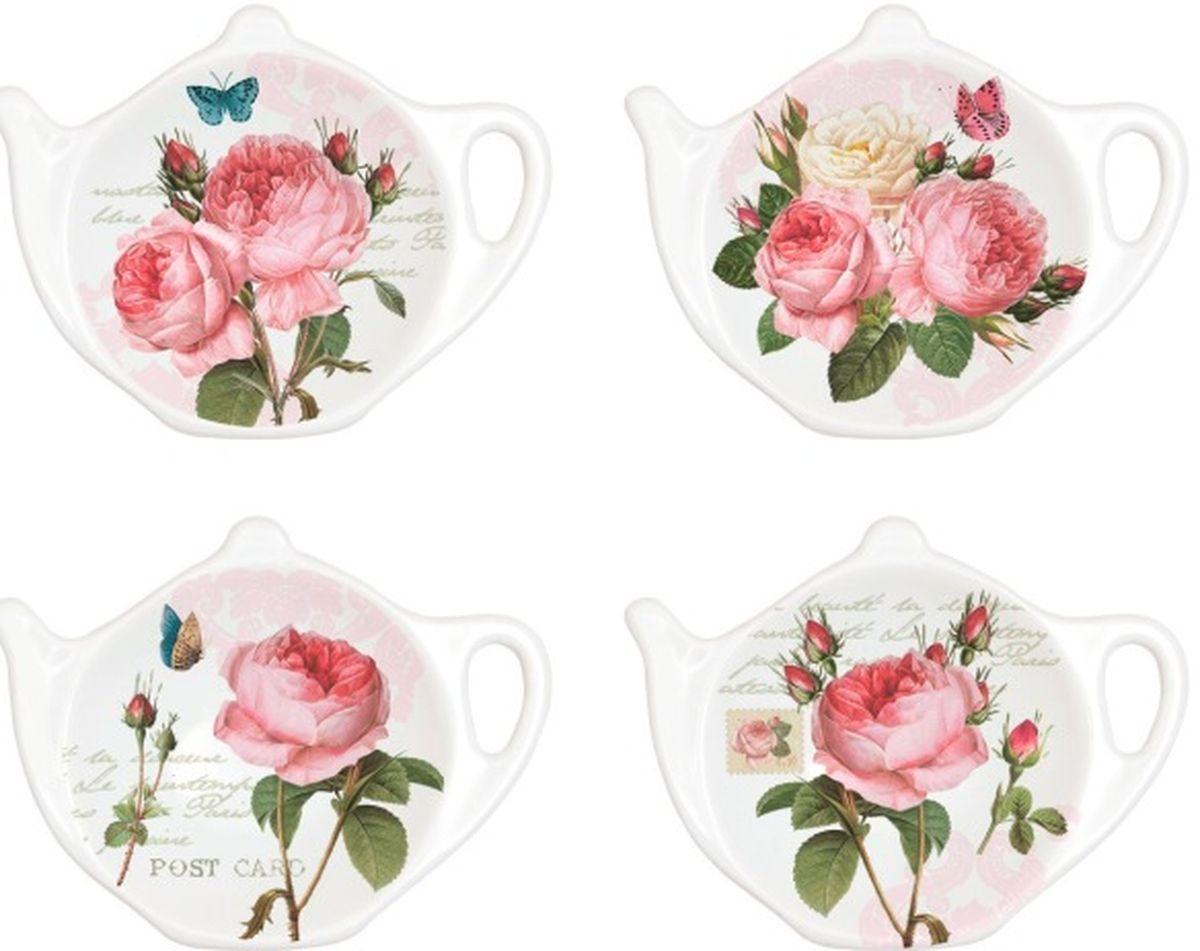 Набор подставок под чайные пакетики Nuova R2S Романтические розы, 4 шт319RMRПодставки под чайные пакетики Nuova Романтические розы выполнены из высококачественного фарфора. Изделие оформлено изображением роз. Изящные подставки не только красиво оформят стол к чаепитию, но и станут прекрасным подарком друзьям и близким. Размер подставки: 10,3 х 7,7 см. В наборе 4 штуки.