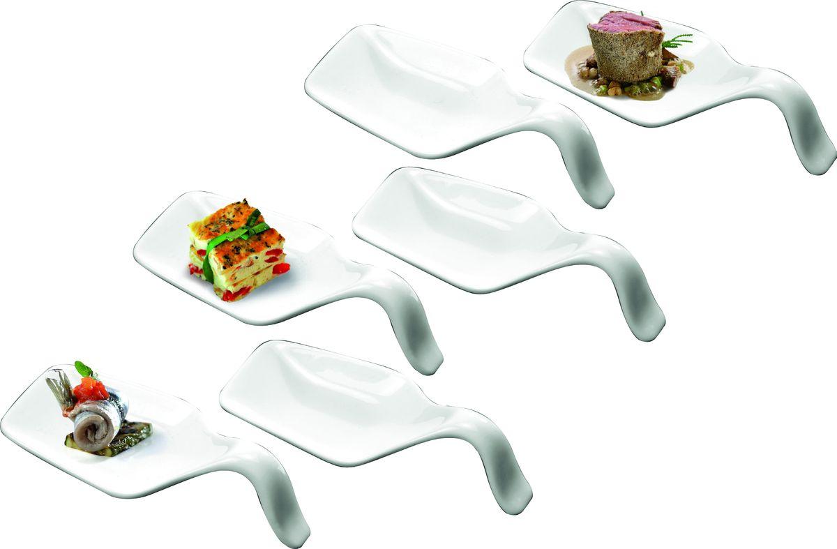 Набор ложек для дегустации Deagourmet, 6 шт115510Набор Deagourmet состоит из 6 ложек специальной формы, предназначенных для подачи и дегустации закусок, снэков, паштетов, десертов.Изделия выполнены из высококачественного фарфора. Подавать закуски на таких мисочках очень красиво - ваши гости попробуют все вкусности, не испачкав пальцы.Можно мыть в посудомоечной машине и использовать в микроволновой печи.Размер одной ложки: 11 х 4,5 х 3 см.