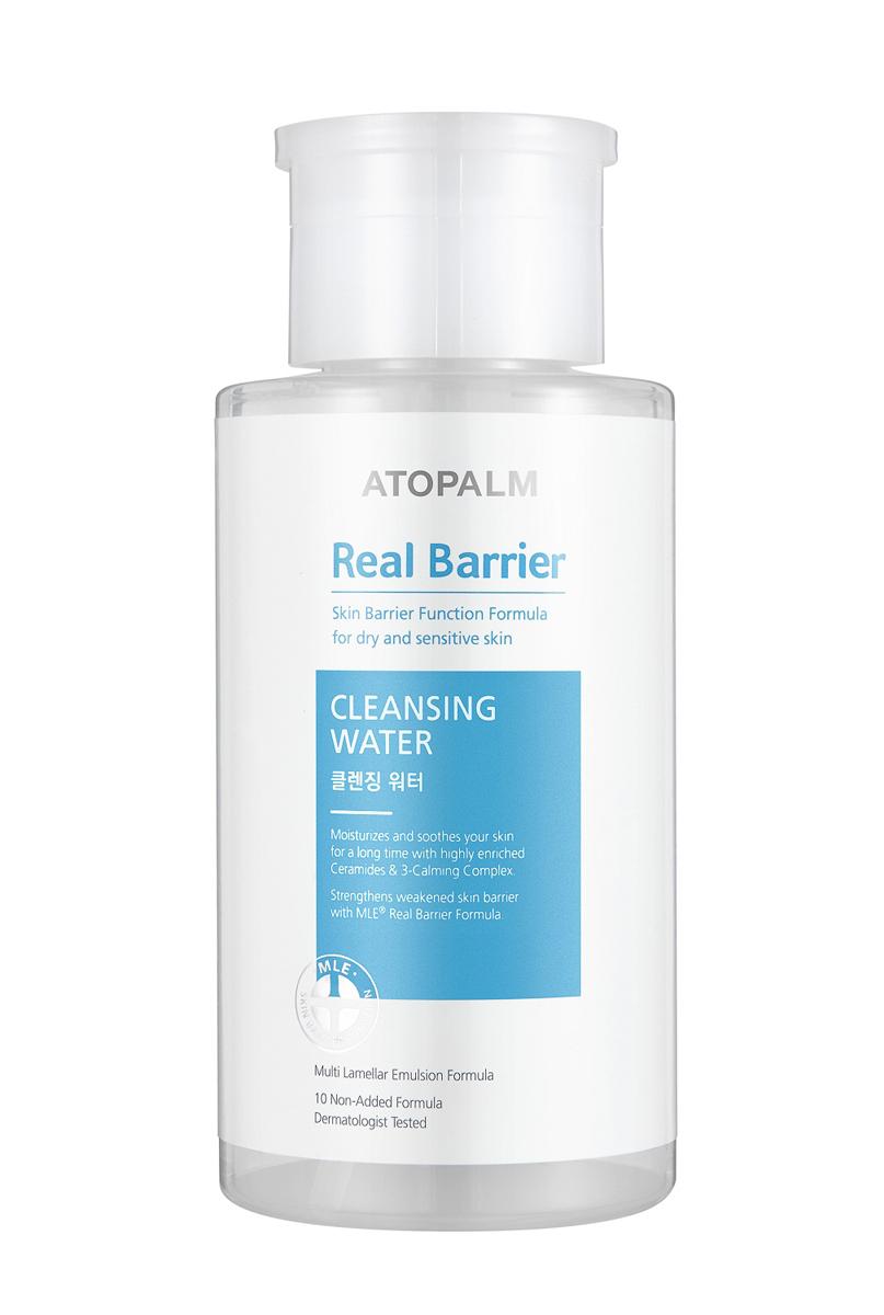 Atopalm Очищающая вода Real Barrier, 250 млБ63003 мятаКомпанияпроизводитель Neopharm разработала уникальную технологию защиты кожи, основанную на MLE. MLE – это многослойная эмульсия, которая воспроизводит слоистую структуру кожи и быстро и эффективно восстанавливает её барьерную функцию. Серия средств Real Barrier содержит комплекс компонентов, которые успокаивают, восстанавливают и защищают чувствительную и сухую кожу. Вода бережно и мягко очищает, не пересушивая и не повреждая чувствительную кожу. Подходит для снятия макияжа..