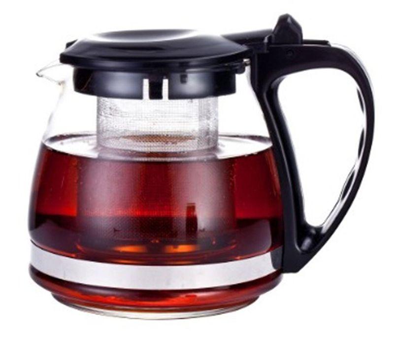 Чайник заварочный МФК-профит, с фильтром, цвет: черный, 700 мл8070Заварочный чайник МФК-профит предоставит вам все необходимые возможности для успешного заваривания чая. Он изготовлен из термостойкого стекла и оснащен крышкой и ручкой из пластика, также имеется вставка из нержавеющей стали. Чай в таком чайнике дольше остается горячим, а полезные и ароматические вещества полностью сохраняются в напитке. Чайник оснащен фильтром, который выполнен из нержавеющей стали. Простой и удобный чайник поможет вам приготовить крепкий, ароматный чай. Нельзя мыть в посудомоечной машине. Не использовать в микроволновой печи. Диаметр чайника (по верхнему краю): 7,5 см. Диаметр дна чайника: 9 см. Высота чайника (с учетом крышки): 11 см. Высота фильтра: 8 см.