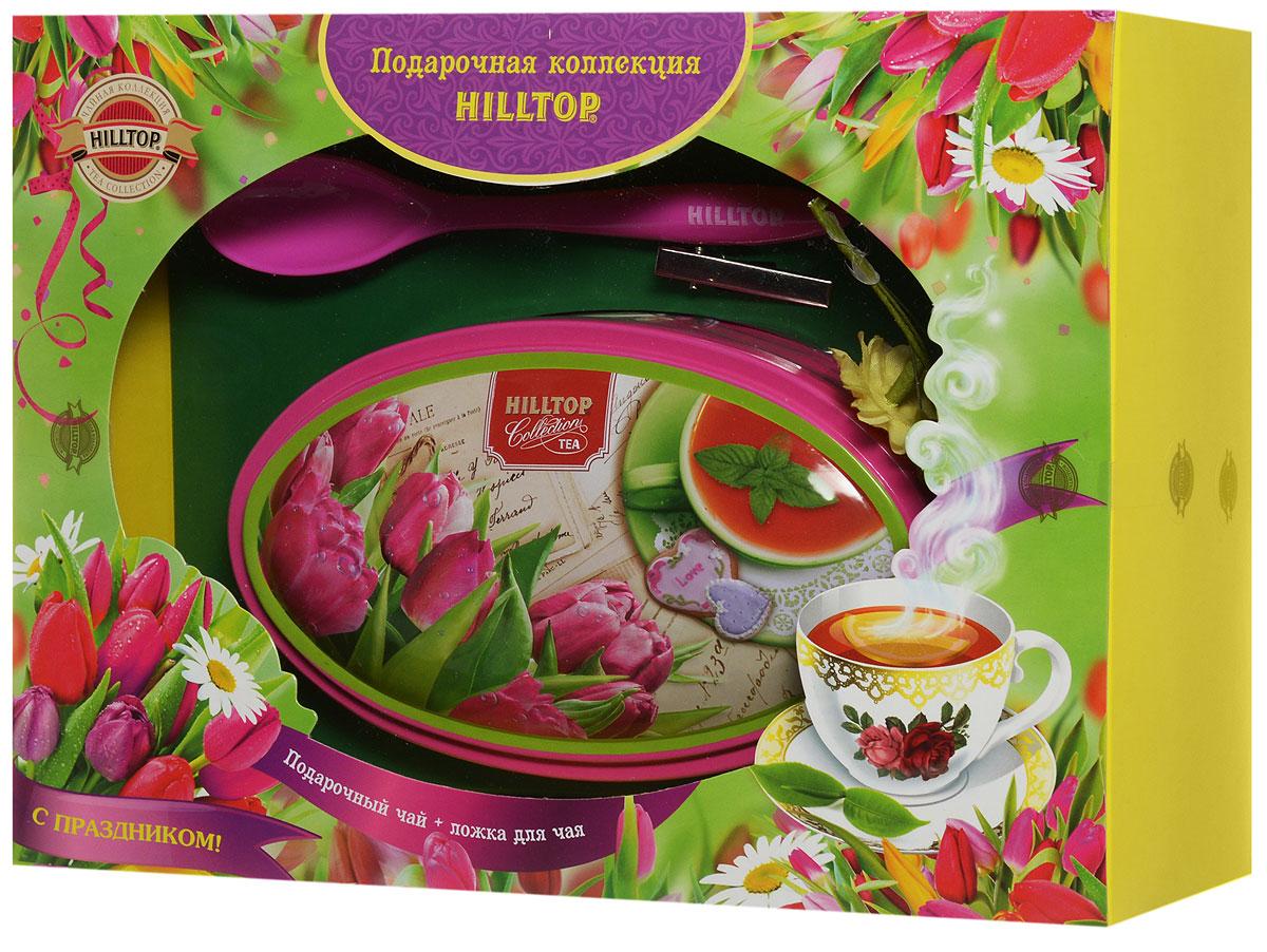 Hilltop Розовые тюльпаны. Цейлонское утро черный листовой чай, 100 г (подарочный набор с ложечкой для чая)4607099306837Подарочный набор Розовые тюльпаны. Цейлонское утро включает в себя восхитительный крупнолистовой черный цейлонский чай, декоративный цветок герберы, а также подарочную чайную ложку с логотипом Hilltop. В коллекциях чая Hilltop всегда цветут цветы и сияет солнце. Эти замечательные наборы помогут вашему празднику радовать всех вокруг.