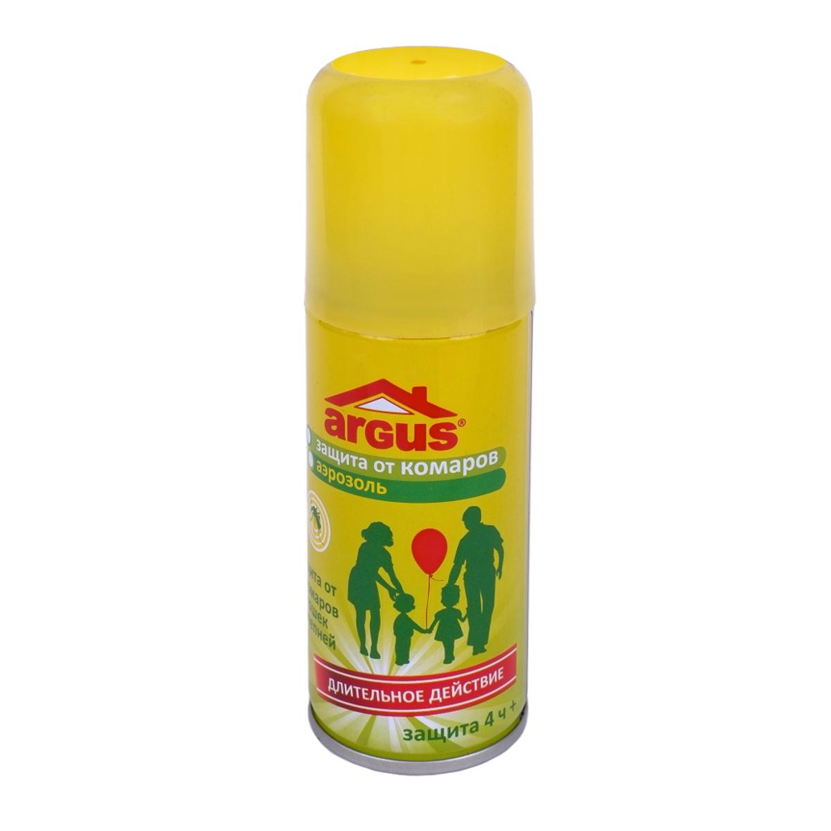 Аэрозоль против насекомых Argus, 100 млСЗ.010021Аэрозоль Argus предназначен для защиты людей от кровососущих насекомых (комаров, мошек, слепней, мокрецов, москитов, блох) при нанесении на открытые части тела и на одежду. Класс эффективности - высший. Время защитного действия при нанесении на кожу составляет более 4 часов даже при высокой численности насекомых, при нанесениии на одежду и изделия из ткани - до 20 суток. Состав: N,N-диэтилтолуамид 18%, пропиленгликоль, отдушка, углеводородный пропеллент, спирт изопропиловый. Не содержит озоноразрушающих хладонов.