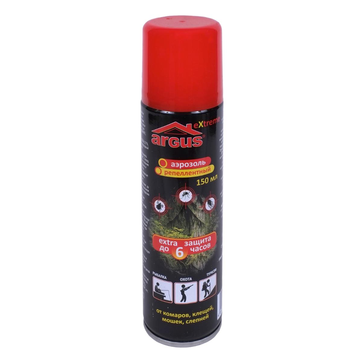 Аэрозоль репеллентный против насекомых Argus, 150 мл19201Репеллентный аэрозоль Argus применяется для защиты людей от нападения кровососущих насекомых (комаров, мокрецов, москитов, мошки, слепней) при нанесении на открытые части тела. Изделие идеально подойдет для защиты от насекомых в экстремальных условиях: на рыбалке, охоте, отдыхе, в лесу, в тайге, в горах, в районах с повышенной влажностью. Действие продолжается до 6 часов.Состав: N,N-диэтилтолуамид (ДЭТА) 27%, пропиленгликоль, отдушка, углеводородный пропеллент, спирт изопропиловый.