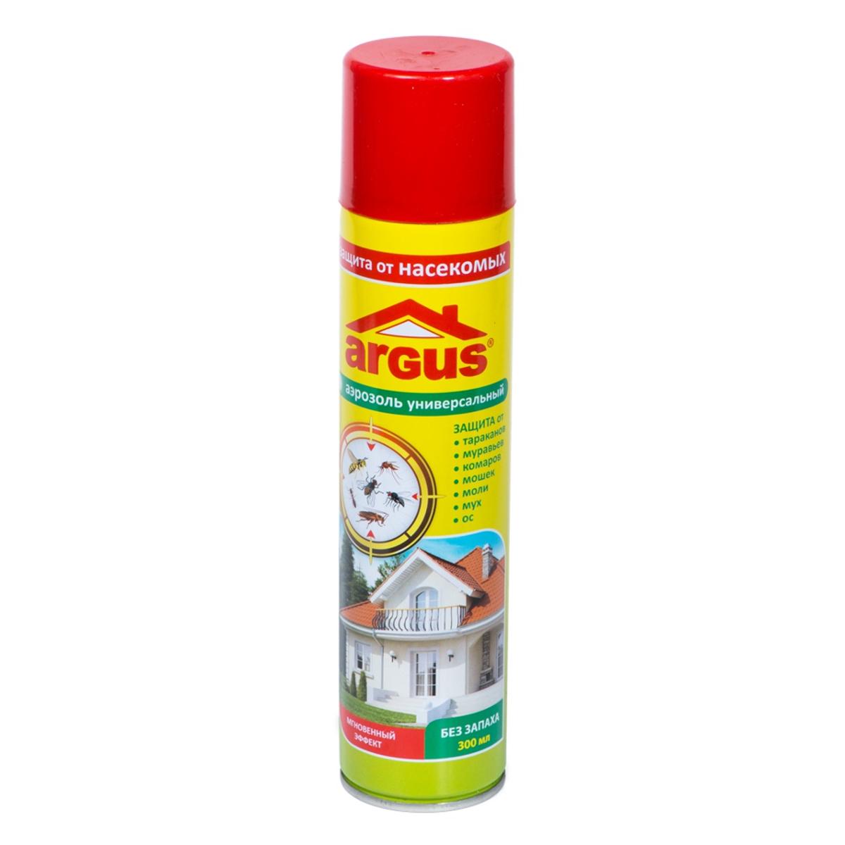 Аэрозоль против насекомых Argus, без запаха, 300 мл19201Универсальный аэрозоль Argus используется для уничтожения в помещениях летающих и нелетающих насекомых: мух, комаров, москитов, бабочек моли, ос, а так же тараканов, блох, клопов, муравьев и кожеедов. Изделие не обладает запахом, не содержит хладонов и озоноразрушающих веществ.Состав: циперметрин (0,2%), тетраметрин (0,15%), синергист, отдушка, углеводородный пропеллент, растворитель.