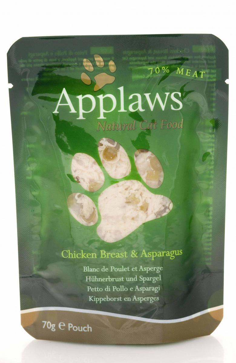 Консервы для кошек Applaws, с курицей и спаржей, 70 г0120710Консервы для кошек Applaws - это настоящее удовольствие для кошек. Нежное мясо в собственном бульоне с лакомой добавкой. Ламинированная упаковка из пищевой фольги прекрасно сохраняет все вкусовые качества рецепта. Продукт не содержит ГМО, синтетических добавок, усилителей вкуса и красителей. Applaws - все только натурально, ничего лишнего! Состав: филе куриной грудки 70%, куриный бульон 24%, спаржа 5%, рис 1%.Гарантированный анализ: белок 19%, жиры 0,3%, зола 0,7%, клетчатка 0,2%, влага 78%.Товар сертифицирован.
