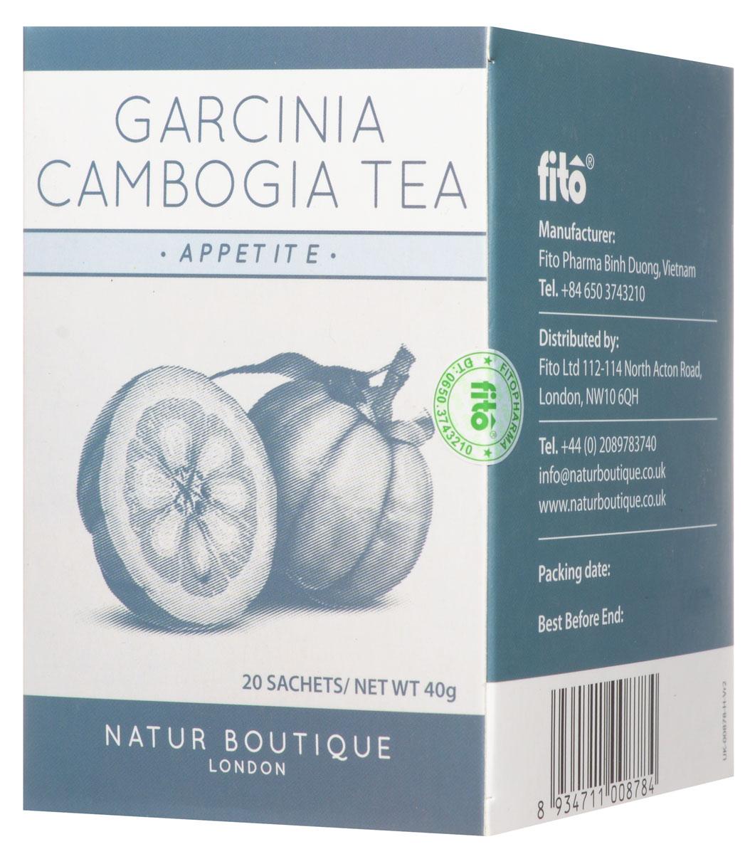Natur Boutique Garcinia Cambogia Organic Tea органический чай с гарцинией камбоджийской, 20 пакетиков0120710Гарциния камбоджийская - цитрус, который применяется для похудения и понижения аппетита. Чай Natur Boutique Garcinia Cambogia Organic Tea из гарцинии камбоджийской содержит особые вещества, которые препятствуют жировым отложениям. Употребление этого чая после еды препятствует скоплению излишков жира в организме.
