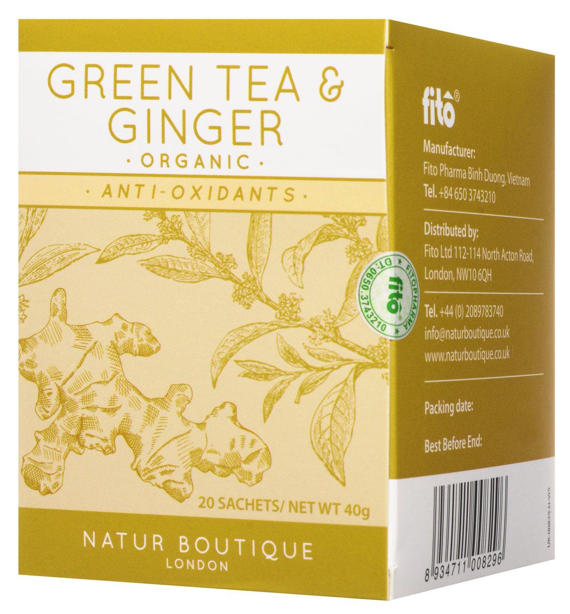 Natur Boutique Green Tea&Ginger Organic Tea органический зеленый чай с имбирем, 20 пакетиков0120710Органический зеленый чай Natur Boutique Green Tea&Ginger Organic Tea подарит вам отличный освежающий вкус. Выращенный на лучших северных плантациях Вьетнама с использованием самых высококачественных удобрений, он обладает прекрасными целебными свойствами и великолепно сочетает в себе превосходный аромат зеленого чая и имбиря. Производство ведется без использования химических добавок и ароматизаторов, что помогает достигать потрясающего натурального вкуса.В его состав входят только зеленый чай и имбирь. Добавление каких-либо примесей недопустимо. Данный товар имеет огромную пользу для каждого человека, ведь употребление этого чая поспособствует повышению умственных и физических показателей организма, а также значительному улучшению его тонуса. Повышенное содержание антиоксидантов позволяет достигать великолепных результатов и очищать организм от вредоносного воздействия загрязнённой окружающей среды. Natur Boutique также прекрасно восстанавливает метаболизм и корректирует вес, что самым лучшим образом отразится на здоровье каждого человека, а содержащийся в нем имбирь улучшает пищеварение, освежает и отлично помогает при простуде.
