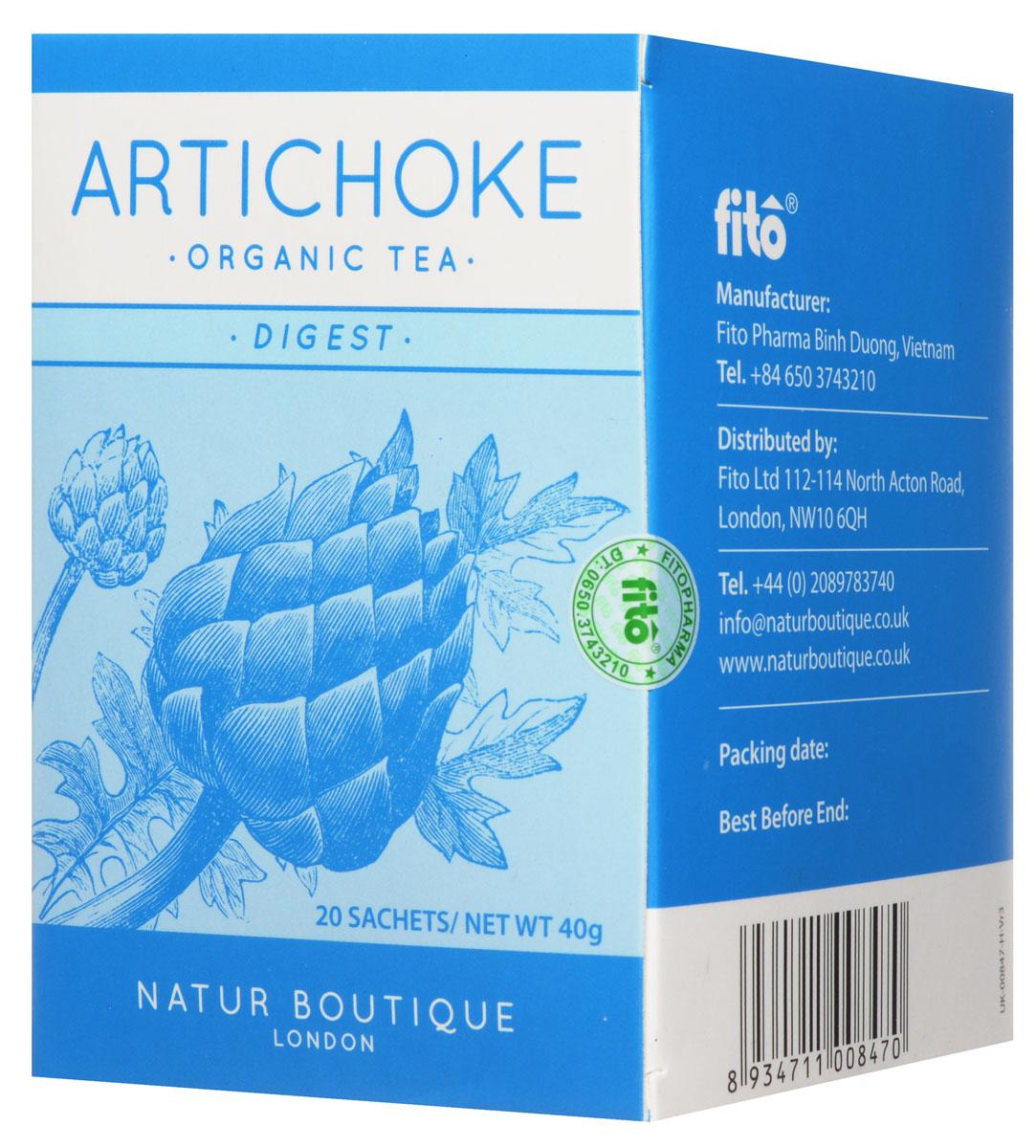 Natur Boutique Аrtichoke Organic Tea органический чай с артишоком, 20 пакетиков250Natur Boutique Аrtichoke Organic Tea - идеальный выбор для желающих улучшить пищеварение и состояние кожи, поддержать функции печени и безопасно очистить организм. Это первый чай с натуральным органическим артишоком (соцветия, стебли и листья органического артишока). Необычно новый вкус, чем то схож с земляным зеленым чаем. Артишок обладает оздоравливающими свойствами, содержит в себе комплекс веществ (флавоноиды, цинарин, инулин др.), которые положительно влияют на здоровье желудочно - кишечного тракта. Не пейте этот чай, если у вас камни в желчном пузыре. Также не рекомендовано принимать при индивидуальной чувствительности к компонентам продукта. Беременным, женщинам в период лактации и детям принимать рекомендуется только по рекомендации и под присмотром врача.