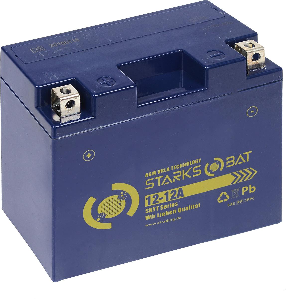 Батарея аккумуляторная для мотоциклов Starksbat. YT 12-12A (YT12B-BS)YT 12-12AАккумулятор Starksbat изготовлен по технологии AGM, обеспечивающей повышенный уровень безопасности батареи и удобство ее эксплуатации. Корпус выполнен из особо ударопрочного и морозостойкого полипропилена. Аккумулятор блестяще доказал свои высокие эксплуатационные свойства в самых экстремальных условиях бездорожья, высоких и низких температур. Аккумуляторная батарея Starksbat производится под знаменитым немецким контролем качества, что обеспечивает ему высокие пусковые характеристики и восстановление емкости даже после глубокого разряда. Напряжение: 12 В. Емкость: 12 Ач. Полярность: прямая (+ -). Ток холодной прокрутки: 155 Аh (EN).